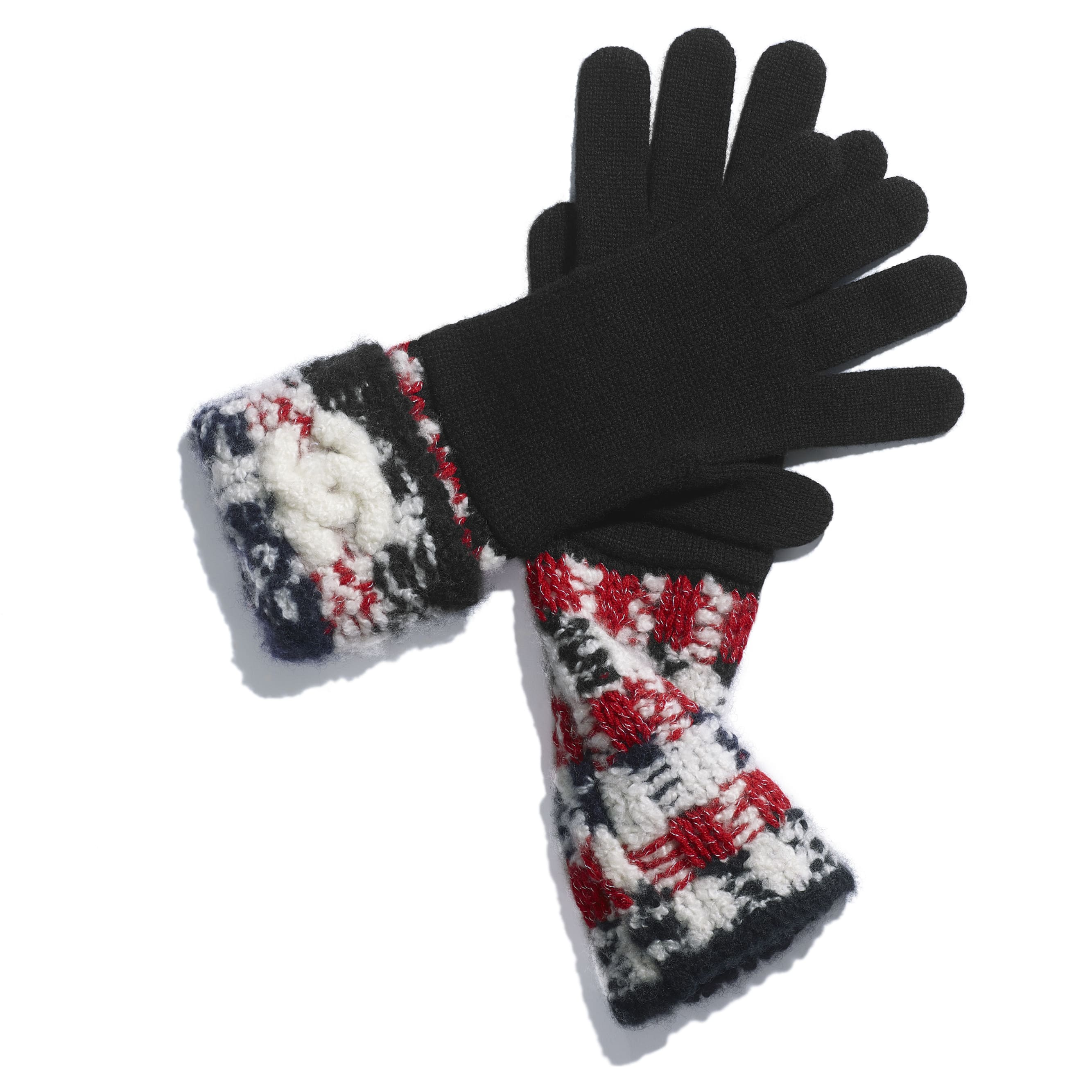 Gloves - Red & Black - Cashmere - Alternative view - see standard sized version