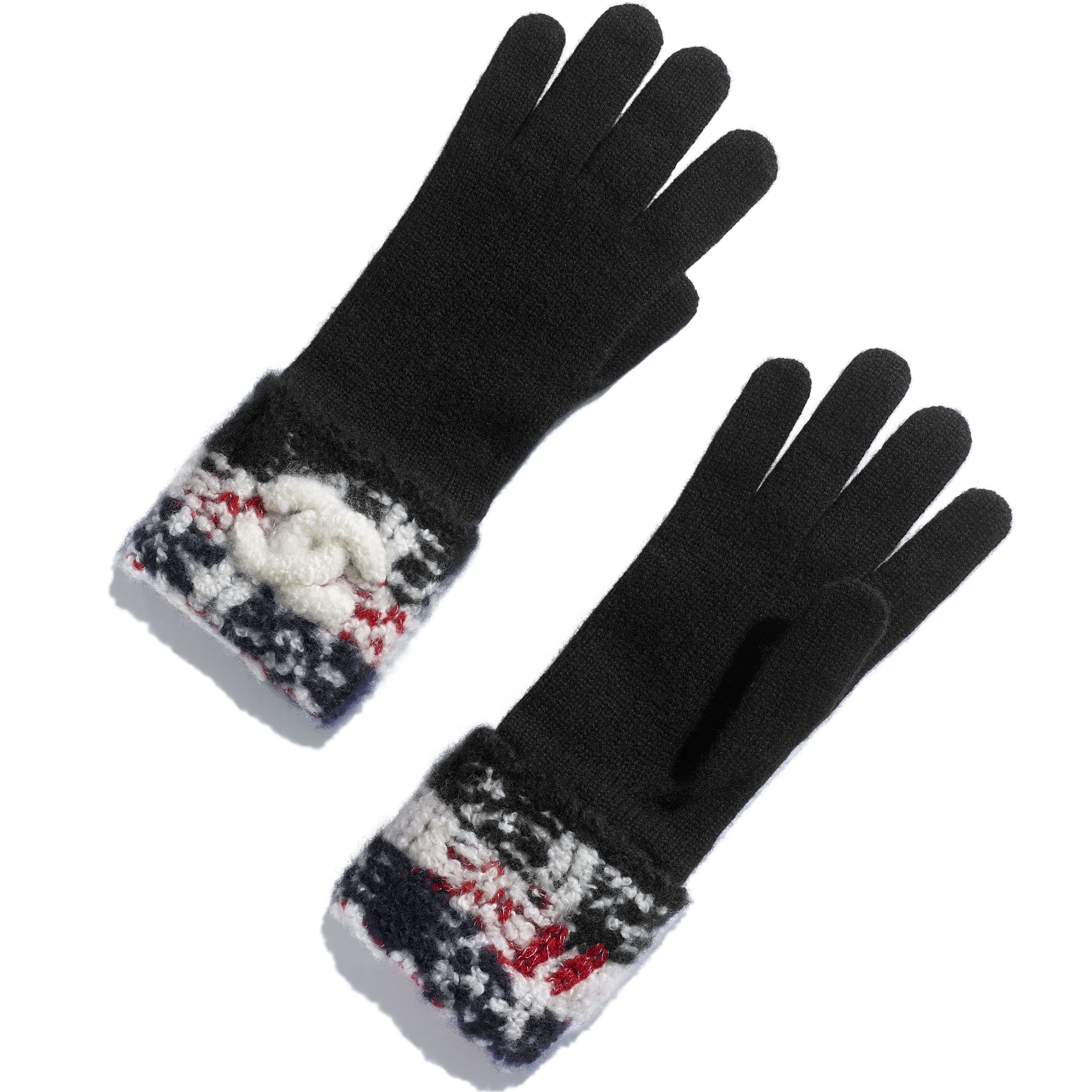 Gloves - Red & Black - Cashmere - Default view - see standard sized version