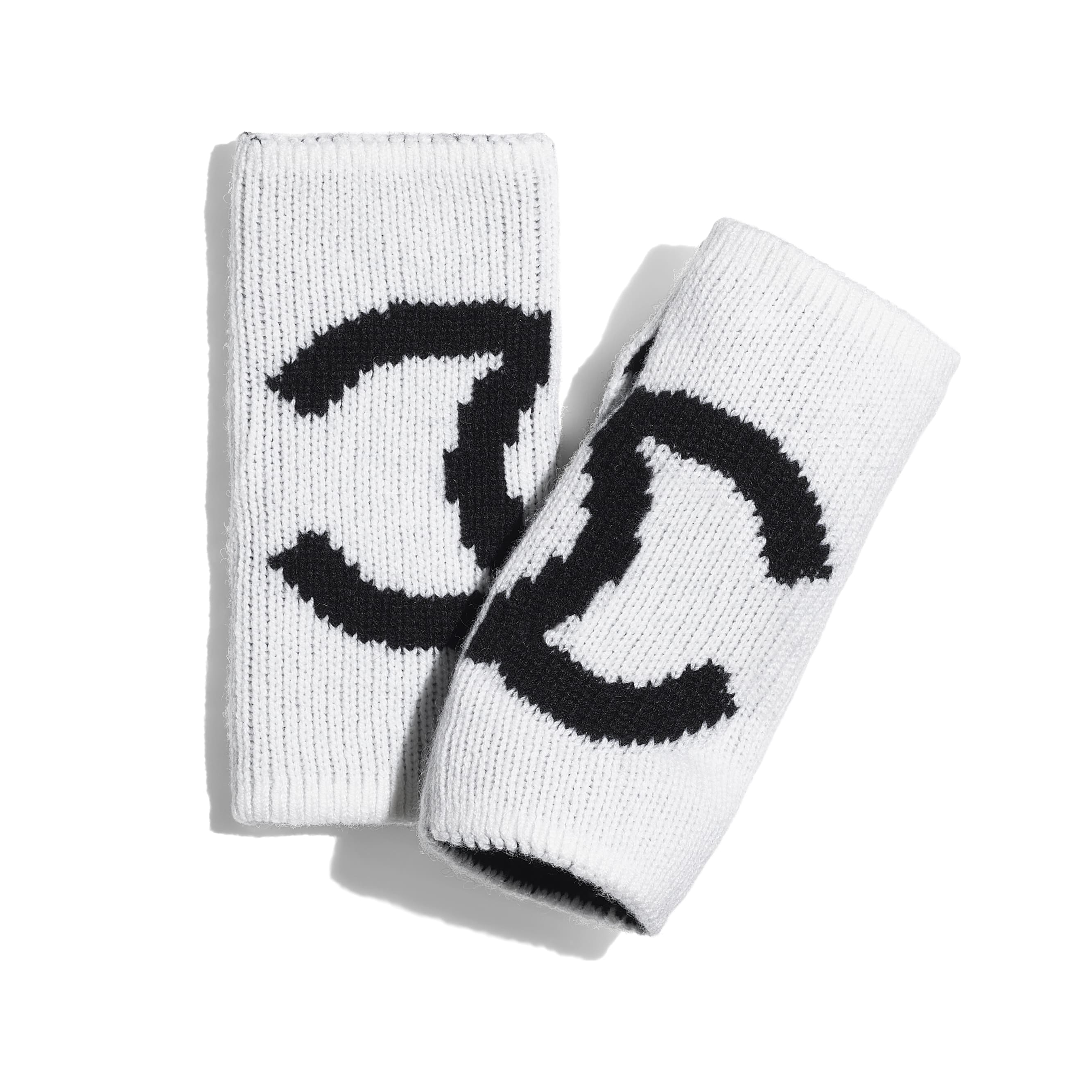 Gloves - White & Black - Cashmere - CHANEL - Default view - see standard sized version