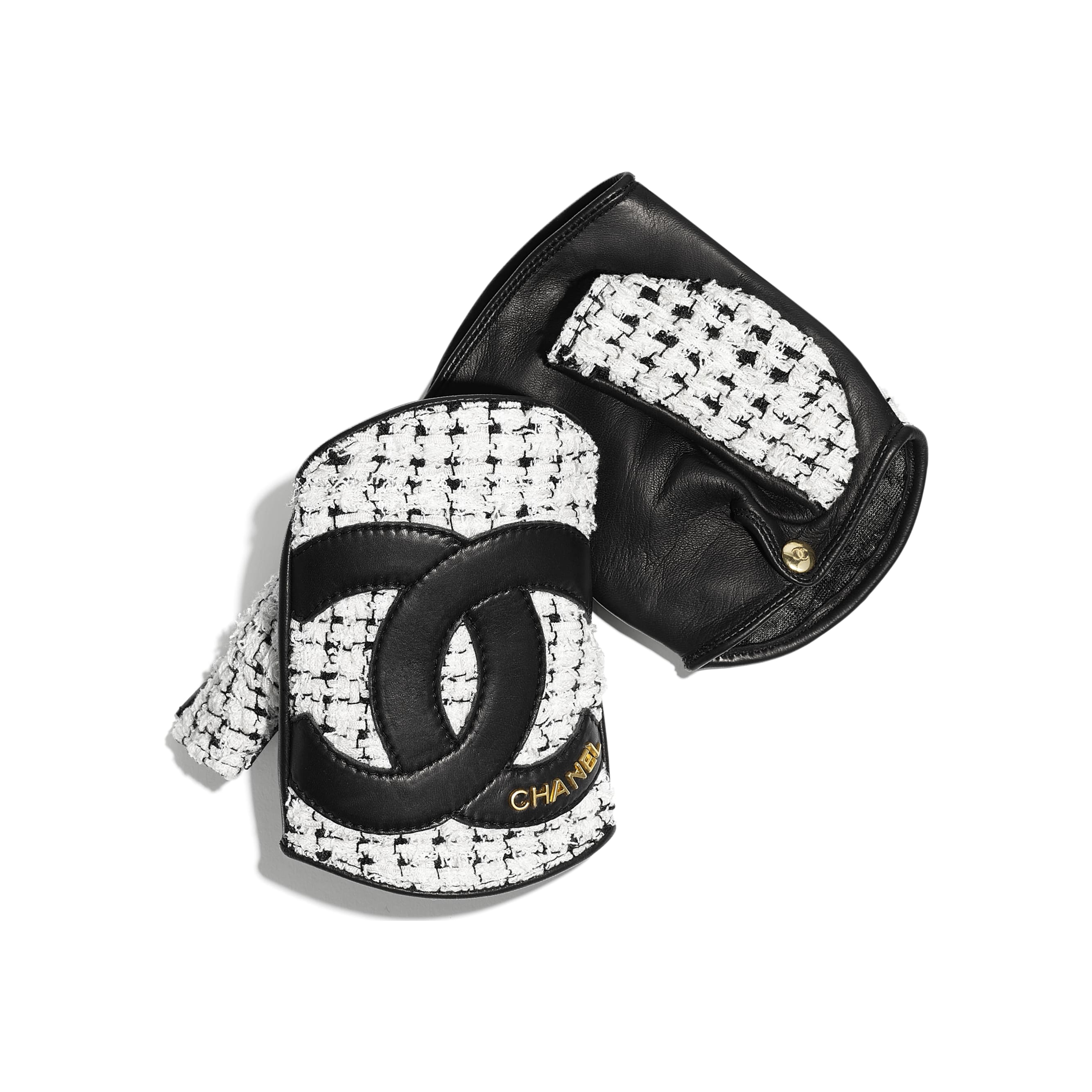Gloves - White & Black - Tweed & Lambskin - CHANEL - Default view - see standard sized version