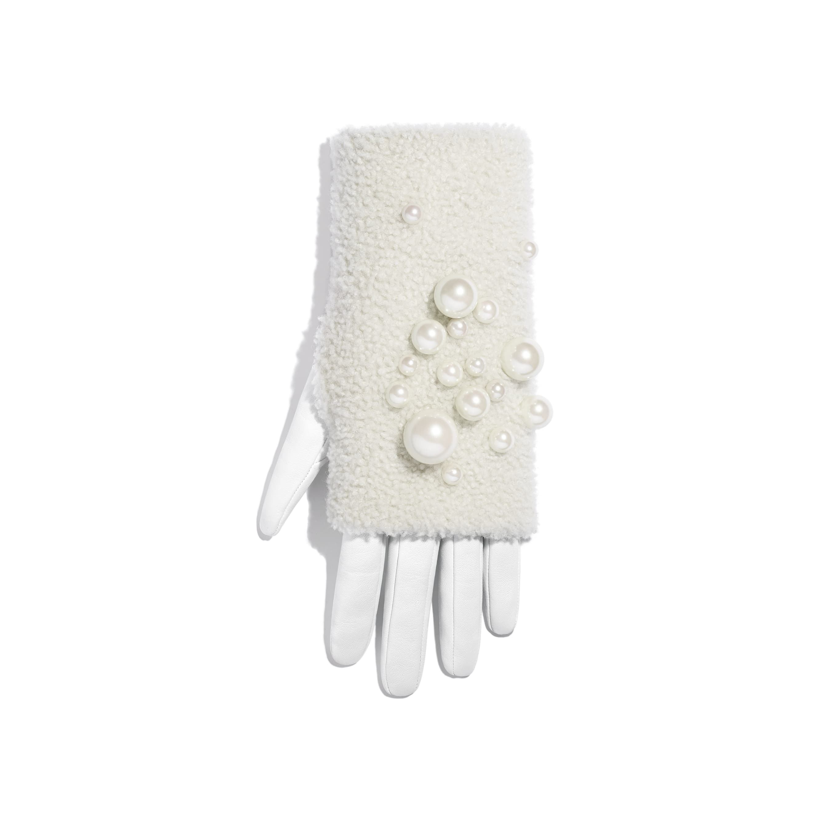 Gloves - White & Ivory - Lambskin, Shearling & Pearls - Alternative view - see standard sized version