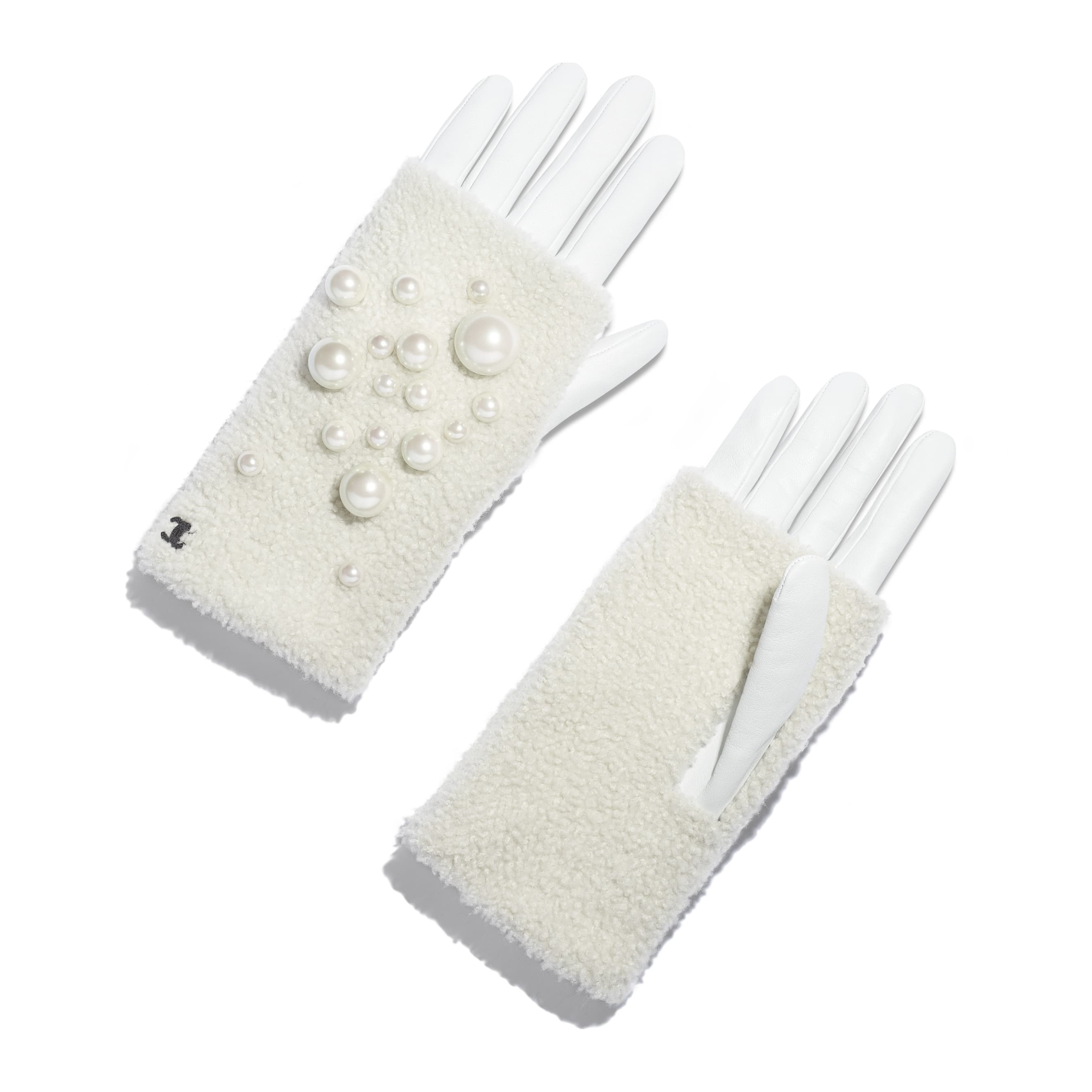 Gloves - White & Ivory - Lambskin, Shearling & Pearls - Default view - see standard sized version
