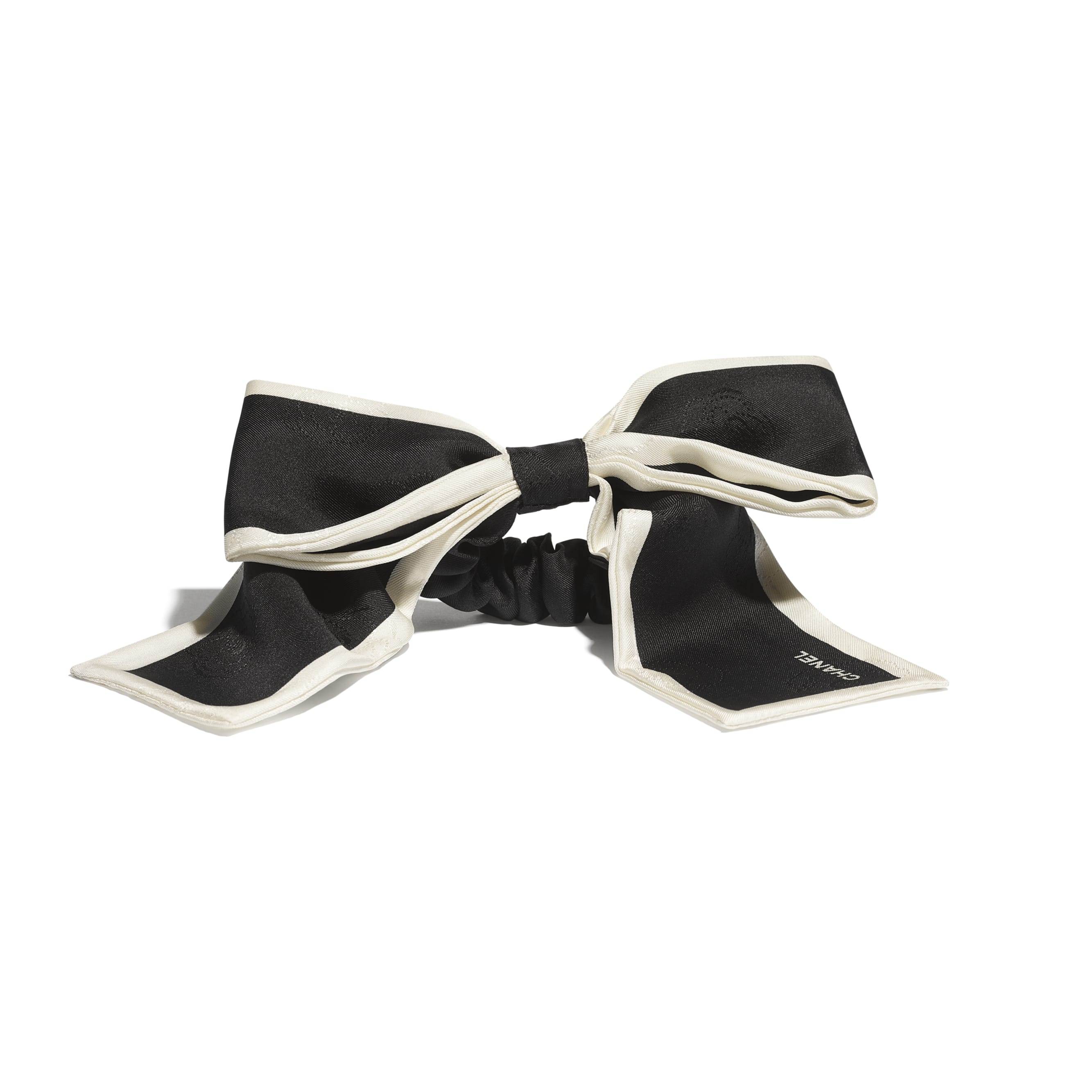 Hair Accessory - Black & Ivory - Silk Twill - CHANEL - Alternative view - see standard sized version