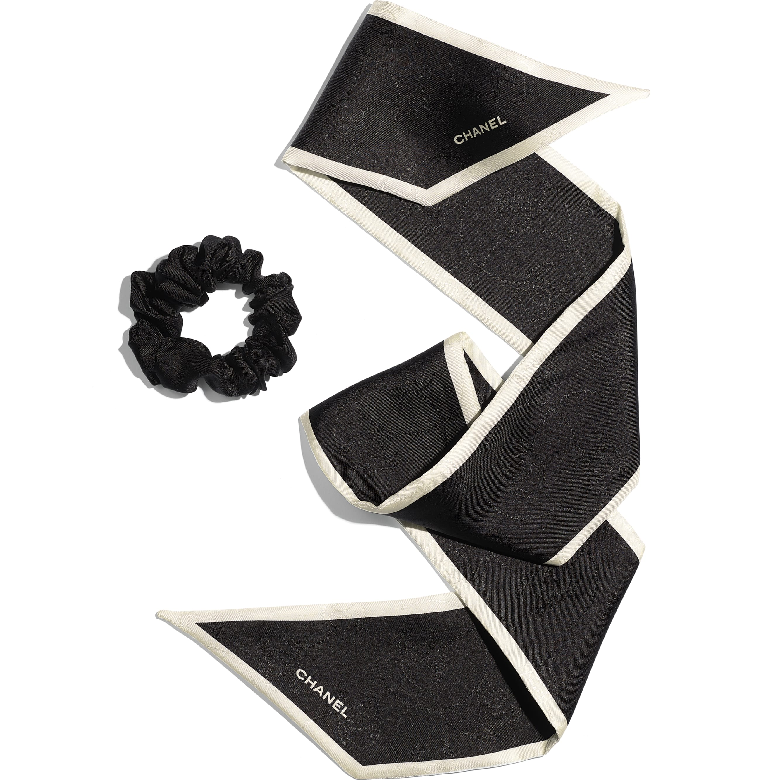 Hair Accessory - Black & Ivory - Silk Twill - CHANEL - Other view - see standard sized version