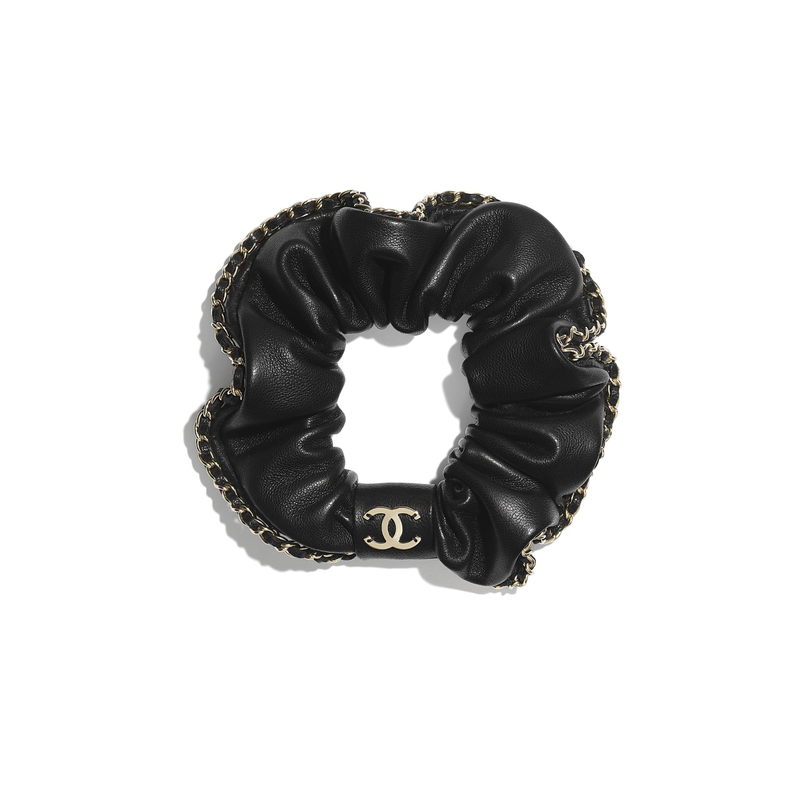 Украшение для волос - Черный - Кожа ягненка и золотистый металл - CHANEL - Вид по умолчанию - посмотреть изображение стандартного размера