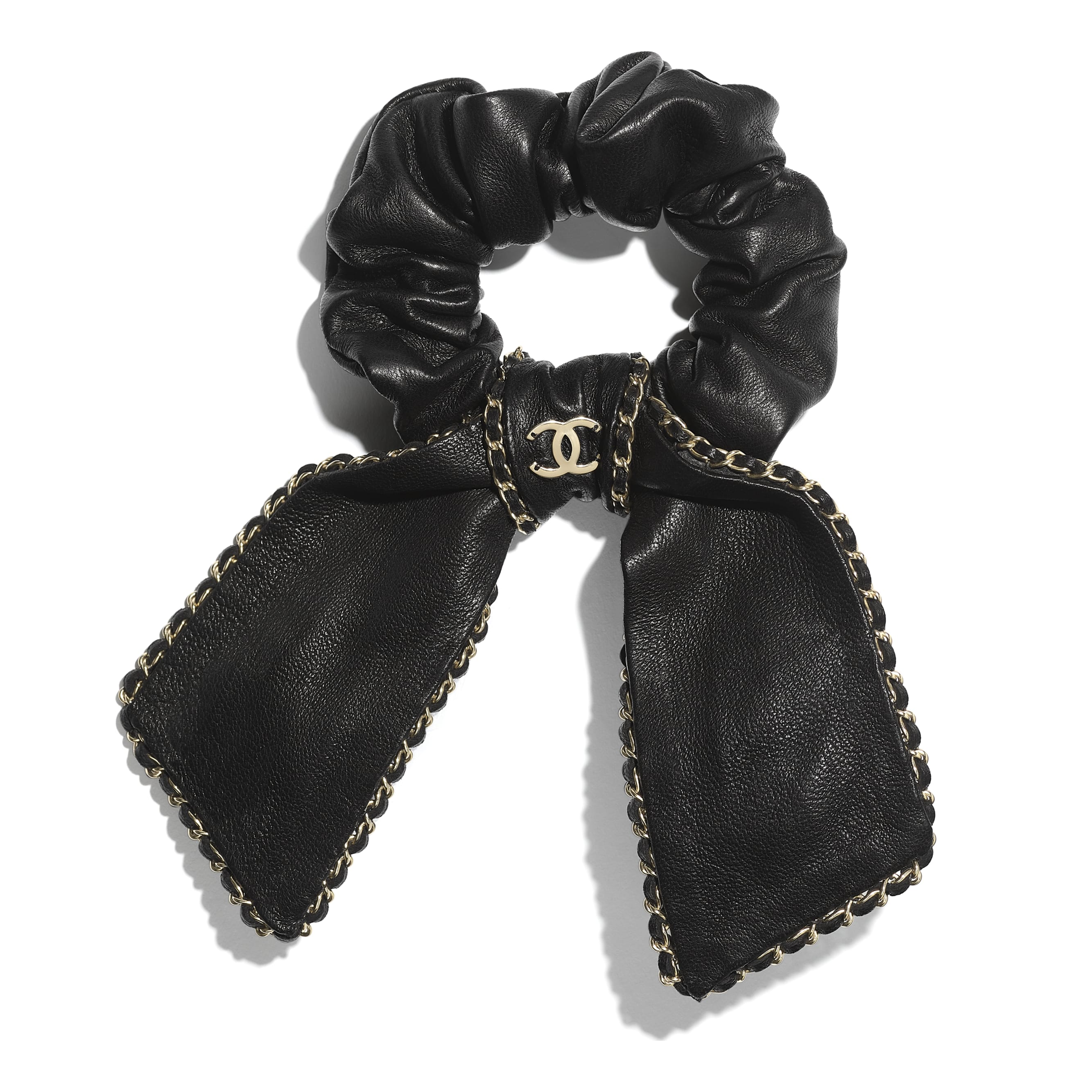 Hair Accessory - Black - Lambskin & Gold Metal  - CHANEL - Default view - see standard sized version