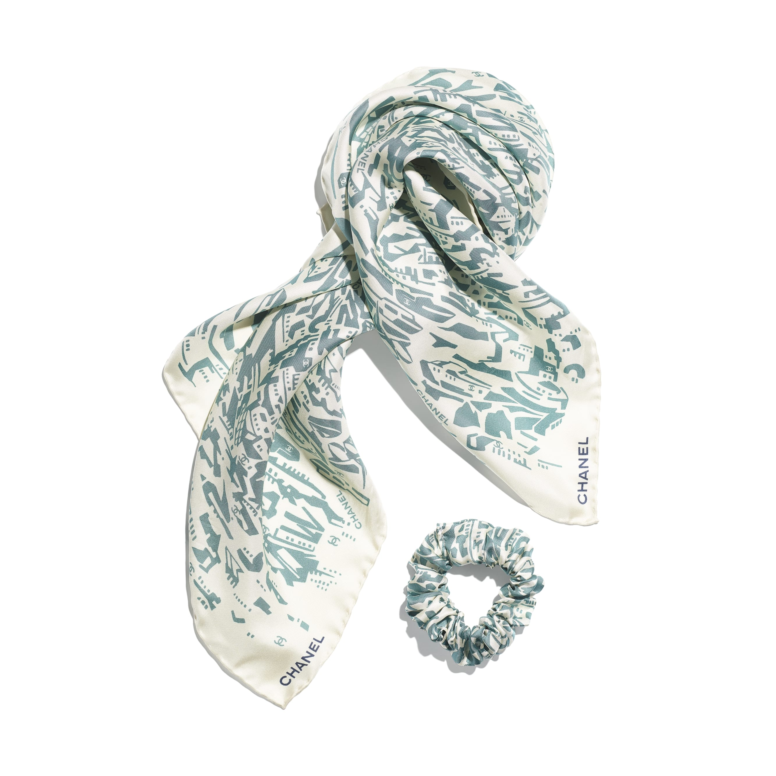 Hair Accessory - Green & Ecru - Silk Twill - CHANEL - Alternative view - see standard sized version
