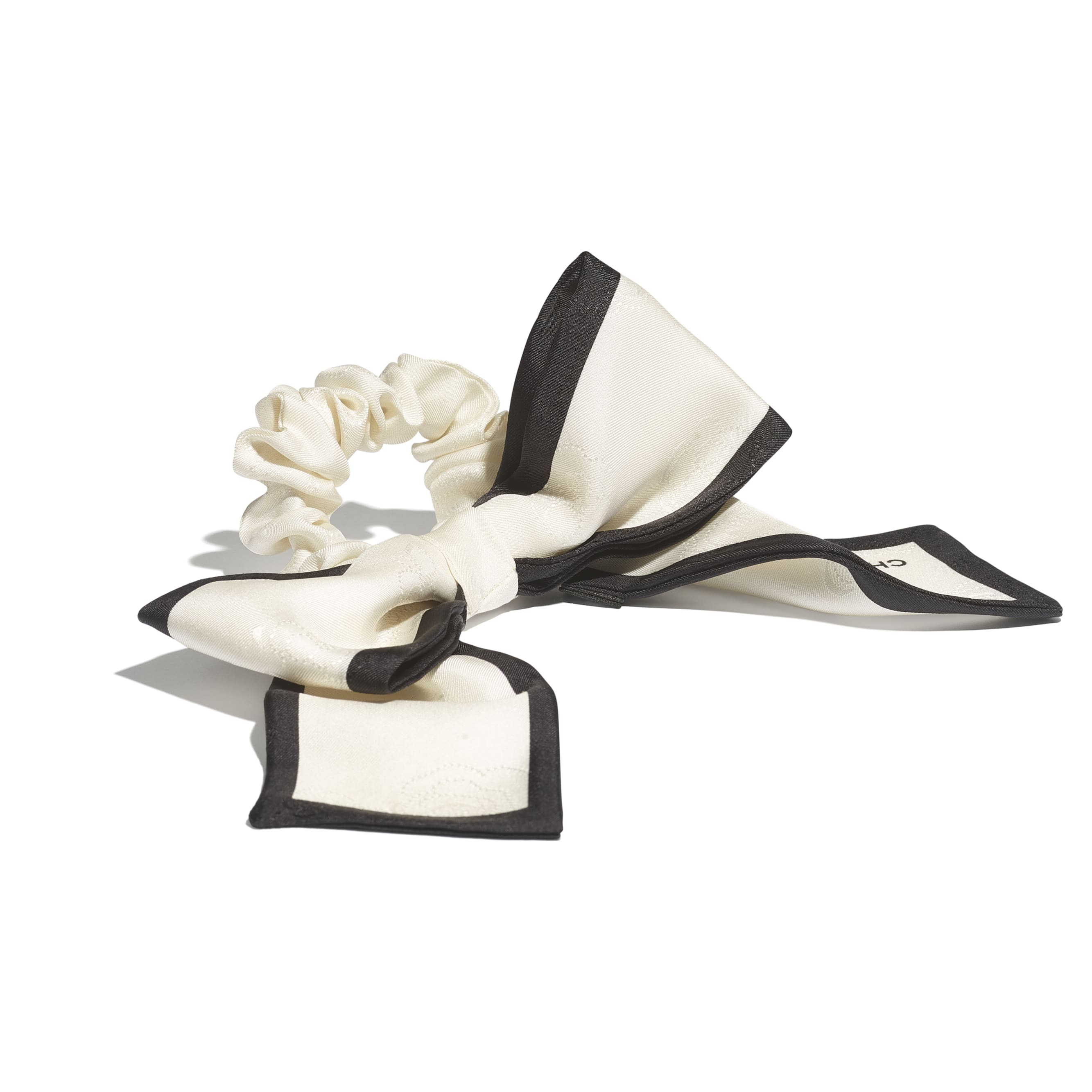 Hair Accessory - Ivory & Black - Silk Twill - CHANEL - Alternative view - see standard sized version