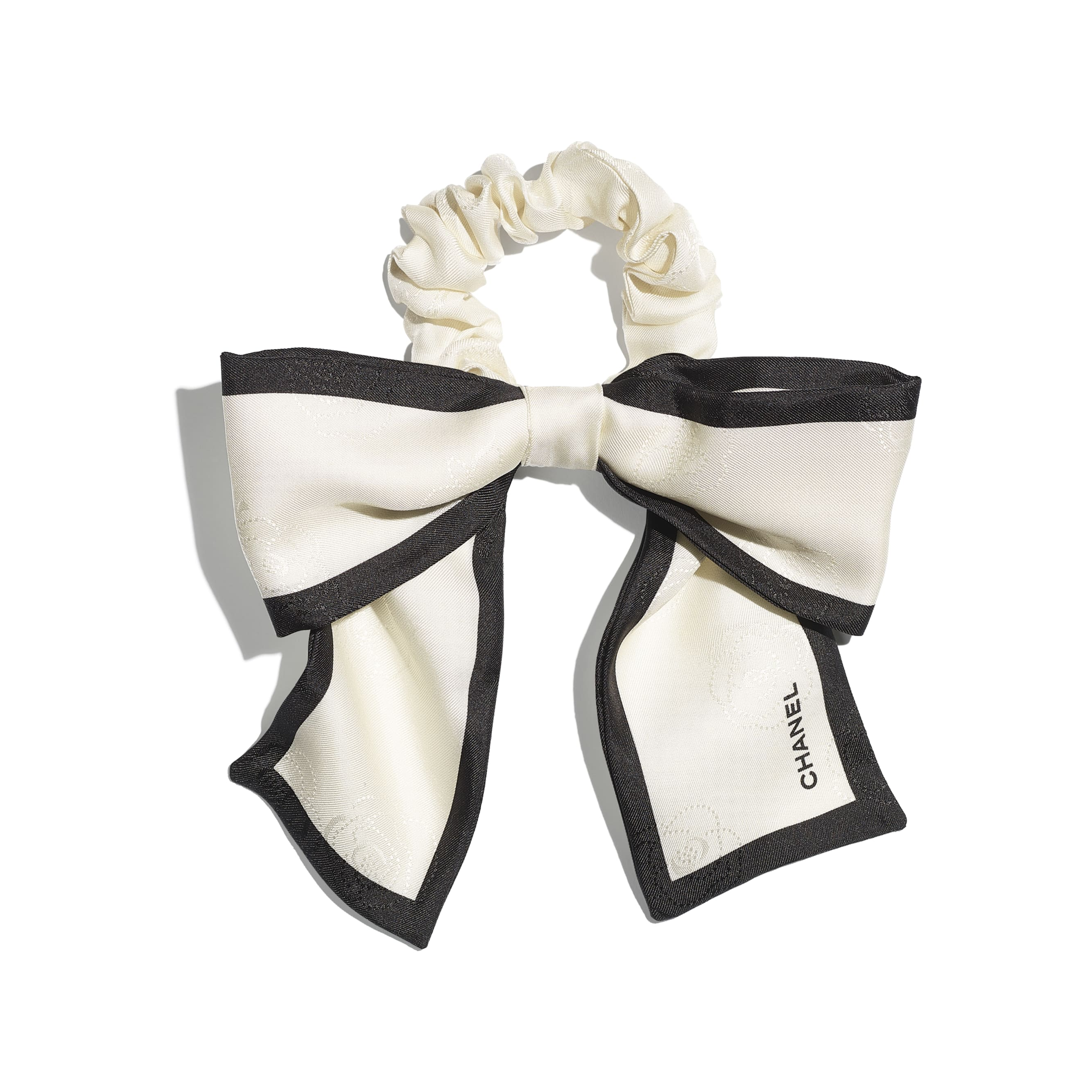 Hair Accessory - Ivory & Black - Silk Twill - CHANEL - Default view - see standard sized version