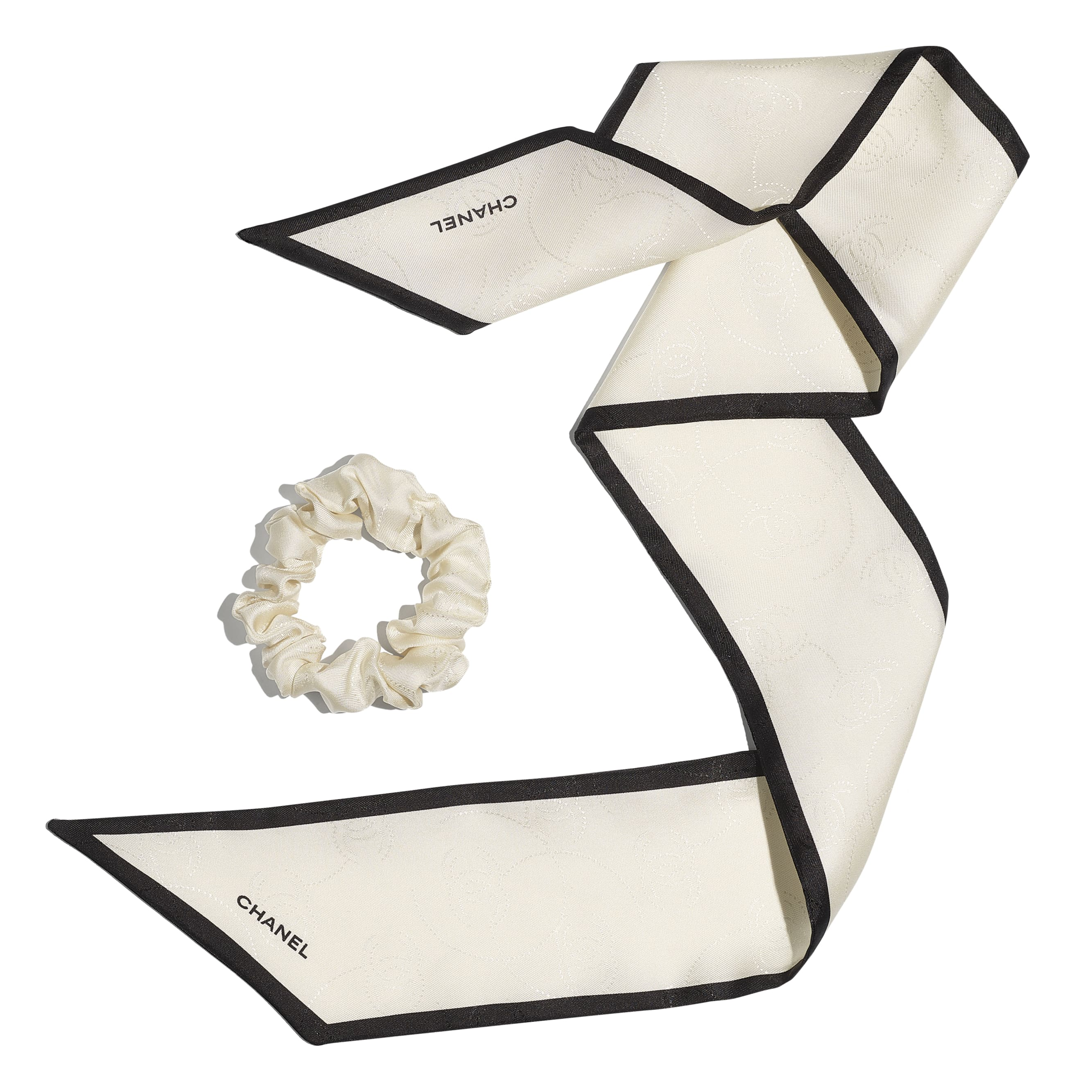Hair accessory - Ivory & Black - Silk Twill - CHANEL - Other view - see standard sized version