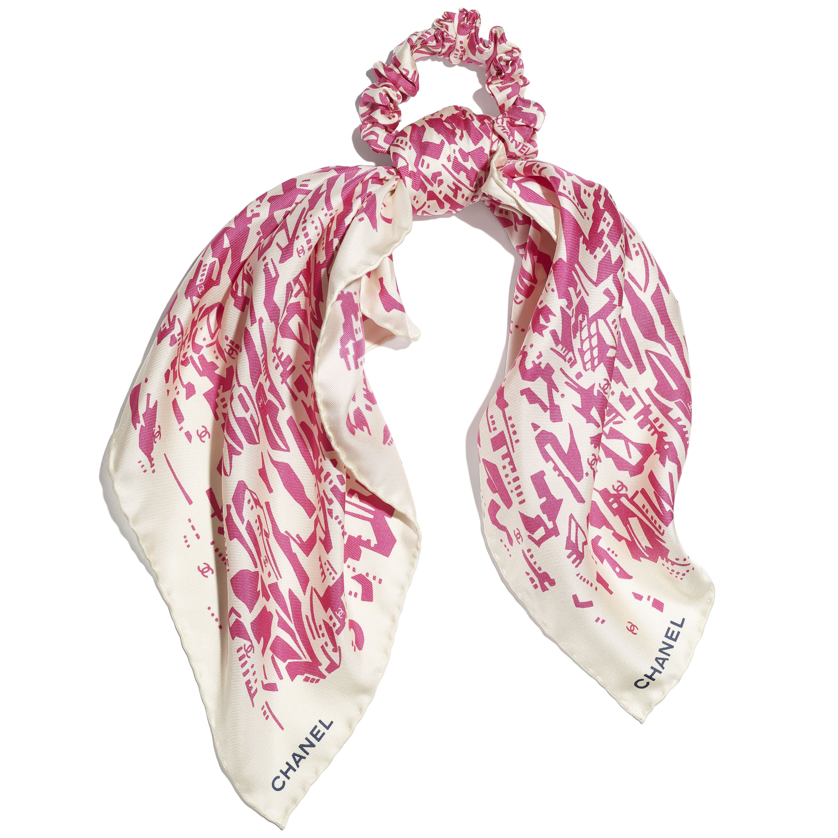 Hair Accessory - Pink & Ecru - Silk Twill - CHANEL - Default view - see standard sized version