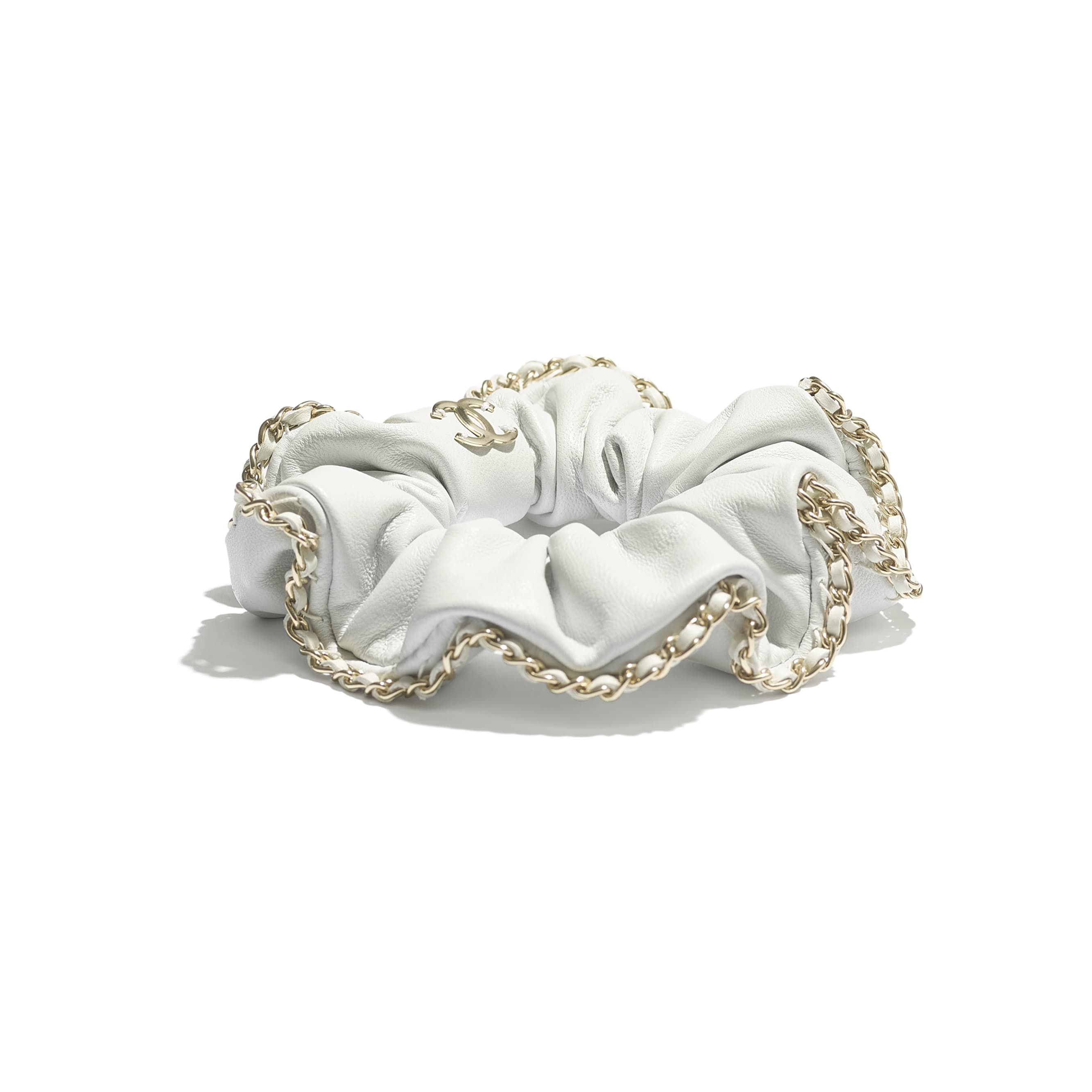 Hair Accessory - White - Lambskin & Gold Metal  - CHANEL - Alternative view - see standard sized version