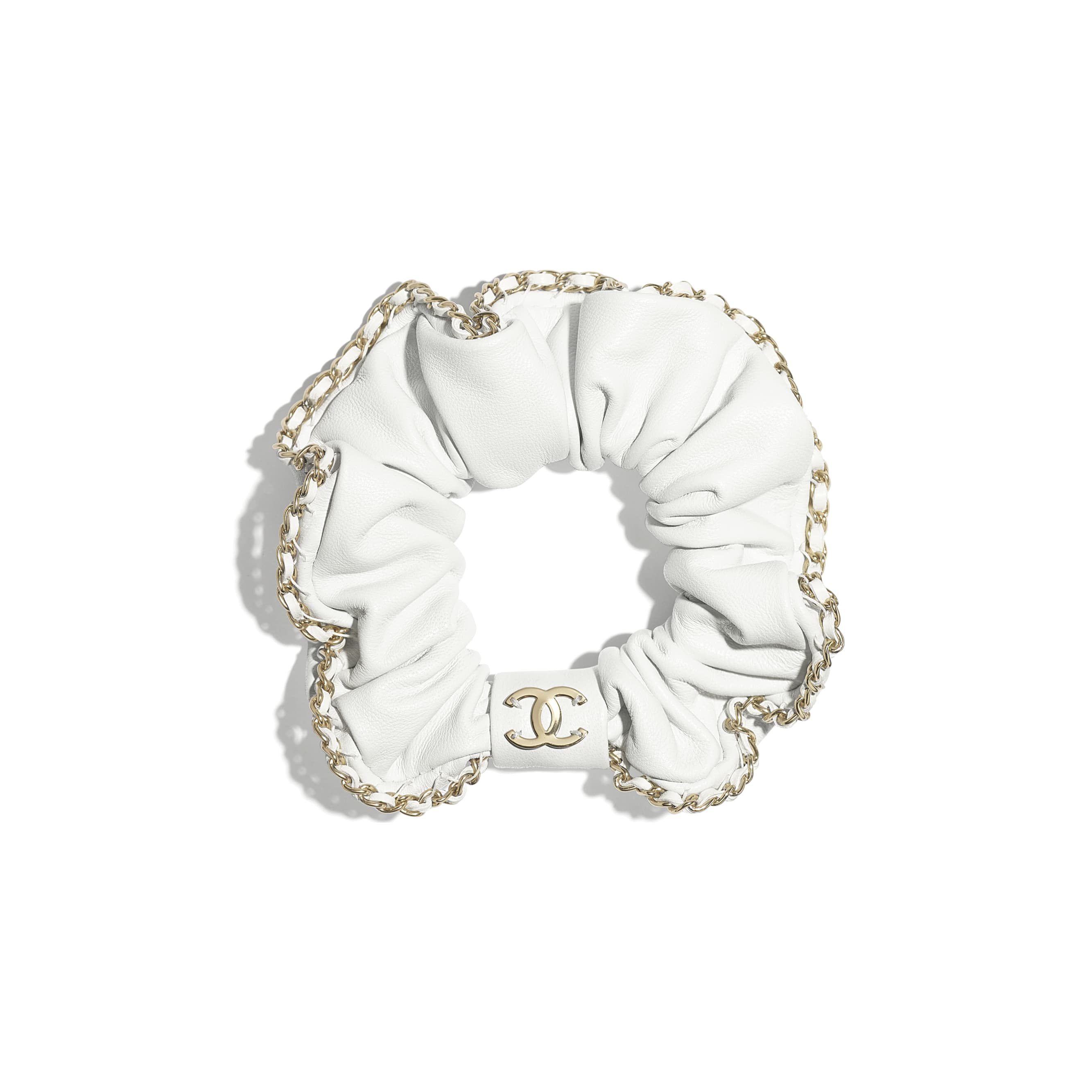 Hair Accessory - White - Lambskin & Gold Metal  - CHANEL - Default view - see standard sized version