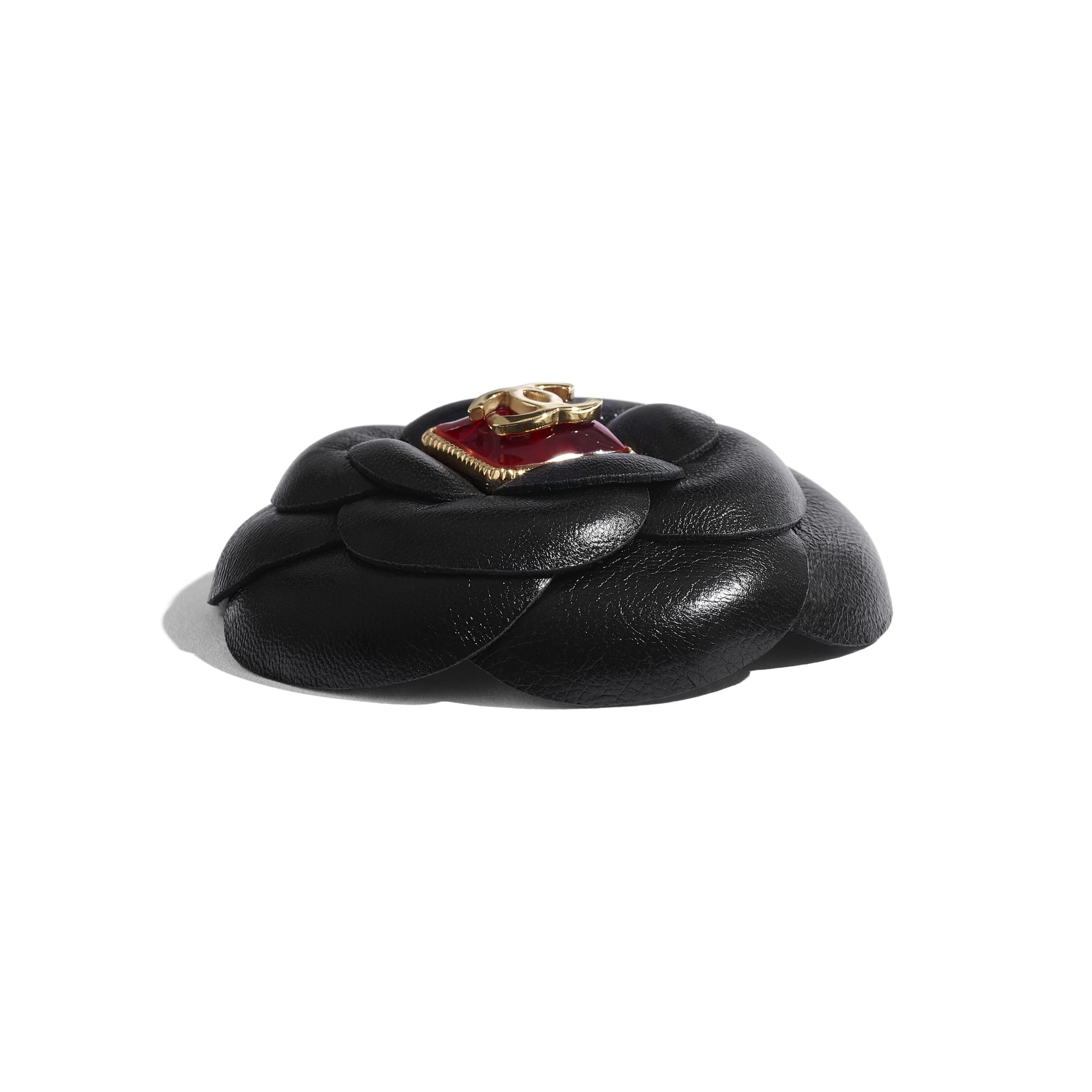 Hair Clip - Black & Burgundy - Lambskin, Resin & Gold-Tone Metal - CHANEL - Alternative view - see standard sized version