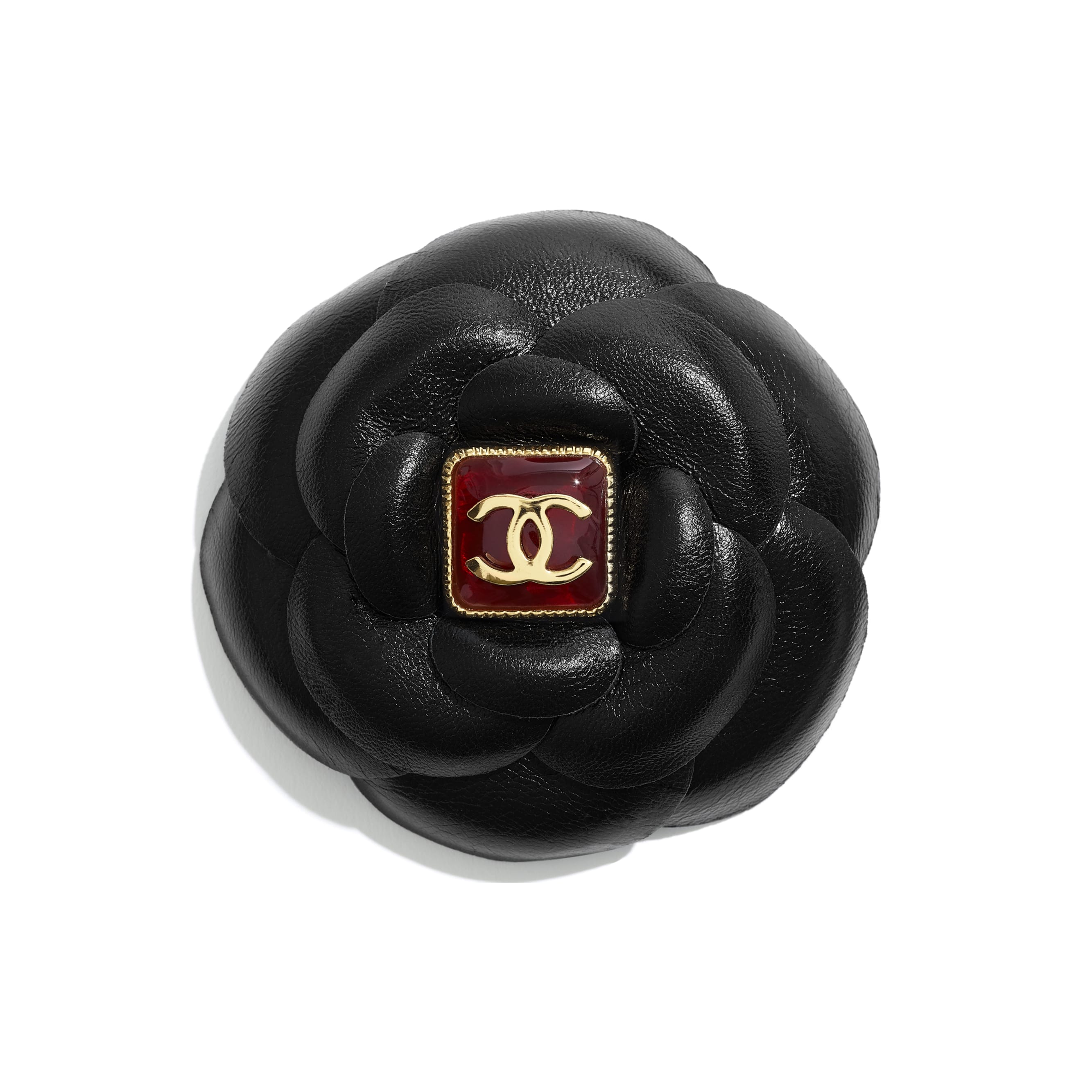 Hair Clip - Black & Burgundy - Lambskin, Resin & Gold-Tone Metal - CHANEL - Default view - see standard sized version