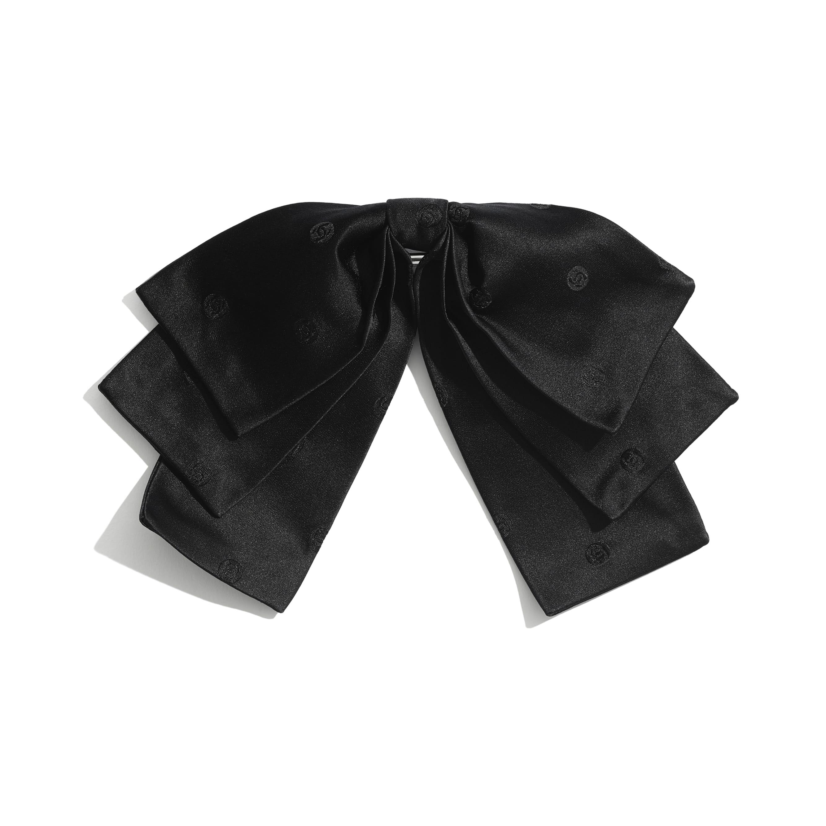 Klamra do włosów - Kolor czarny - Jedwab - CHANEL - Widok domyślny – zobacz w standardowym rozmiarze