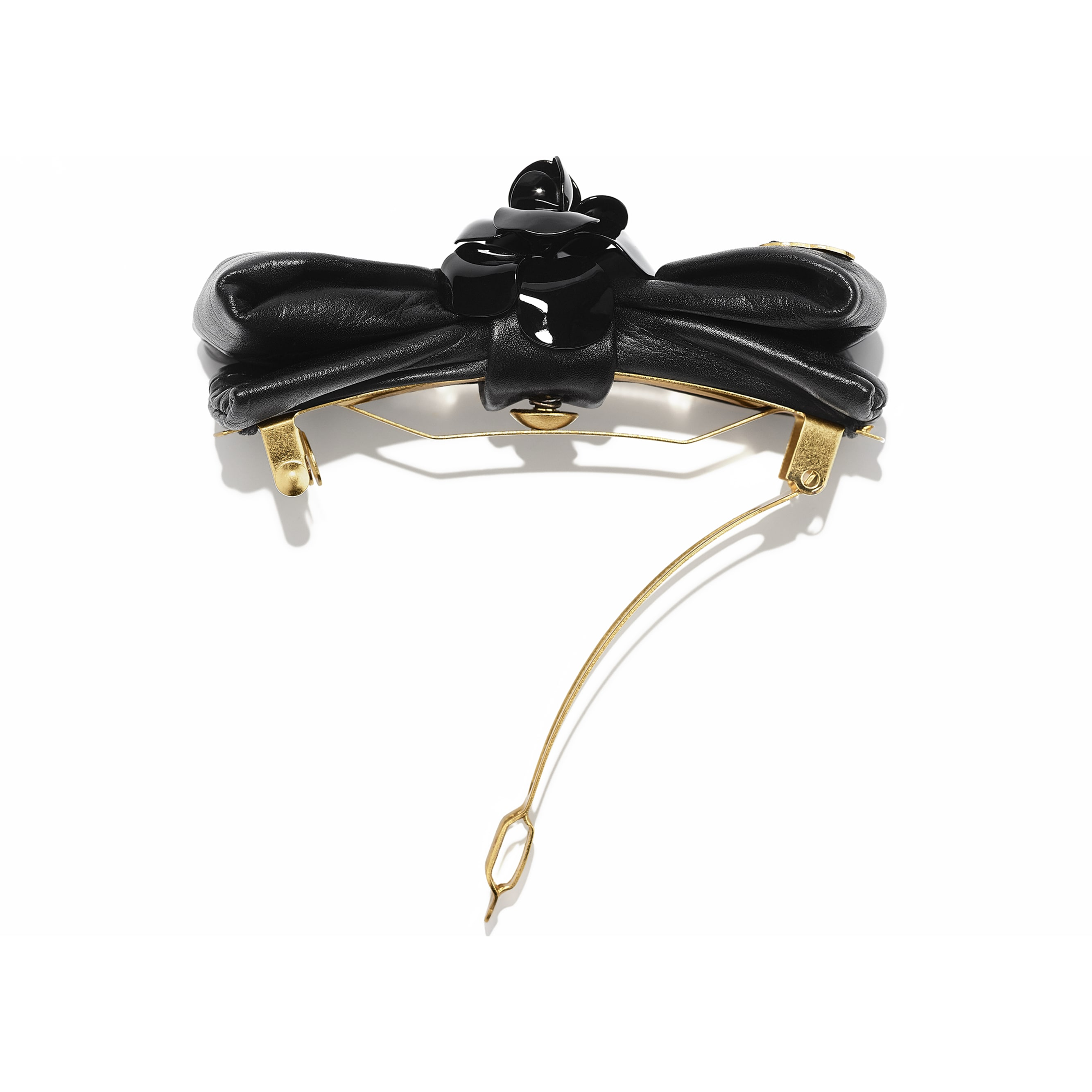 Hair Clip - Gold & Black - Metal & Calfskin - CHANEL - Alternative view - see standard sized version