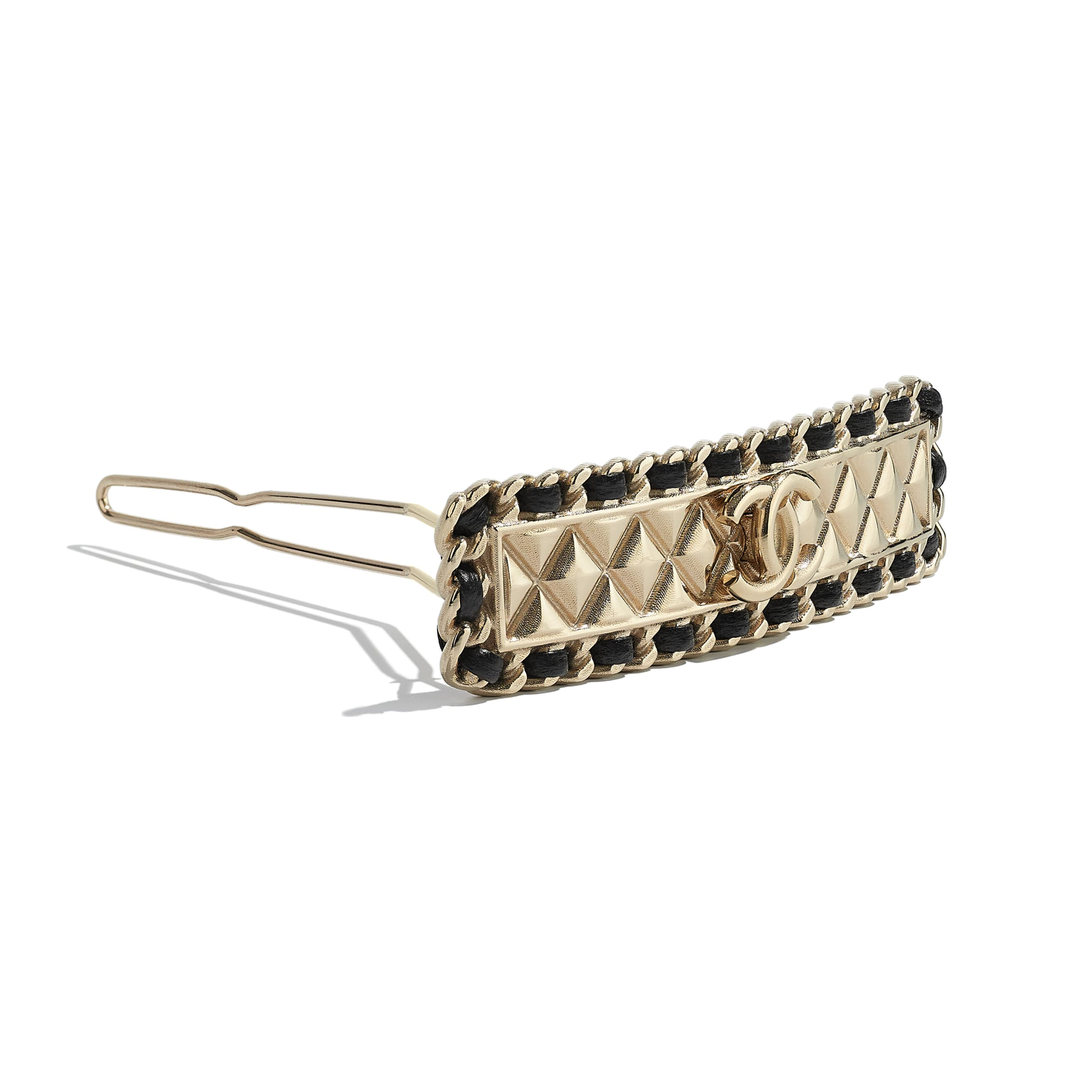 Hair Clip - Gold & Black - Metal & Lambskin - CHANEL - Alternative view - see standard sized version