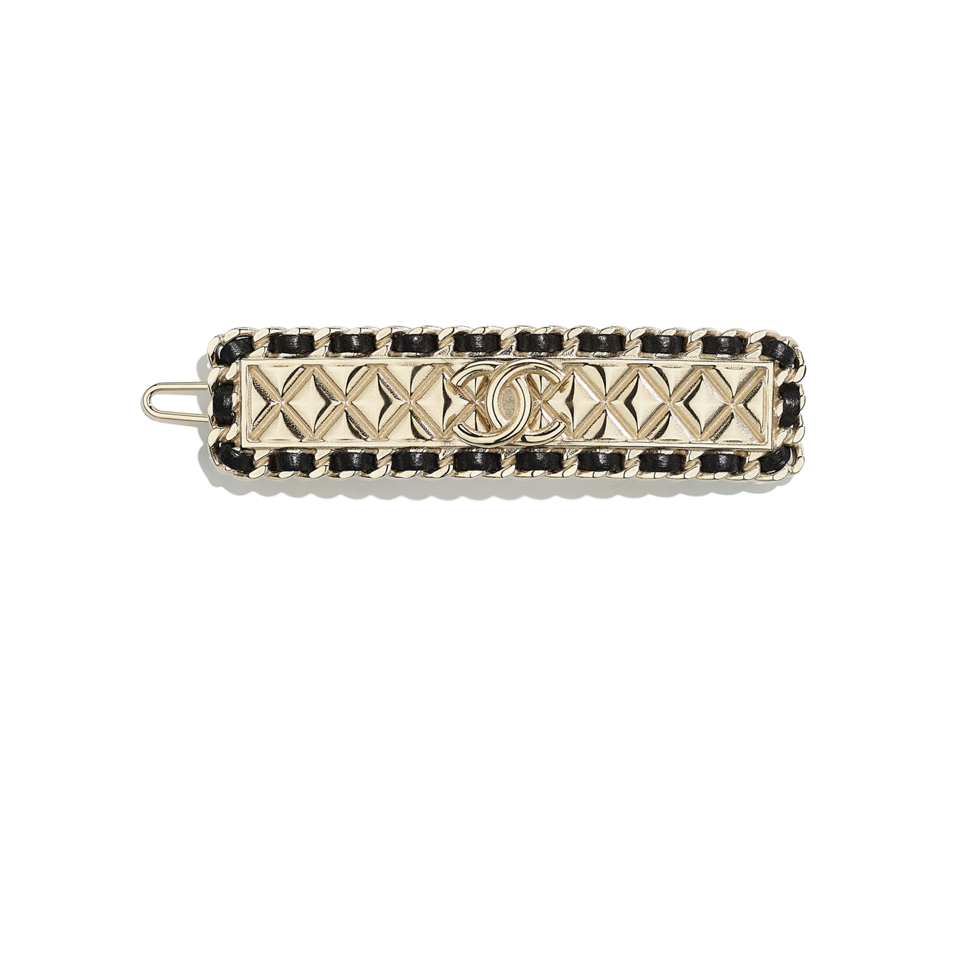 Hair Clip - Gold & Black - Metal & Lambskin - CHANEL - Default view - see standard sized version
