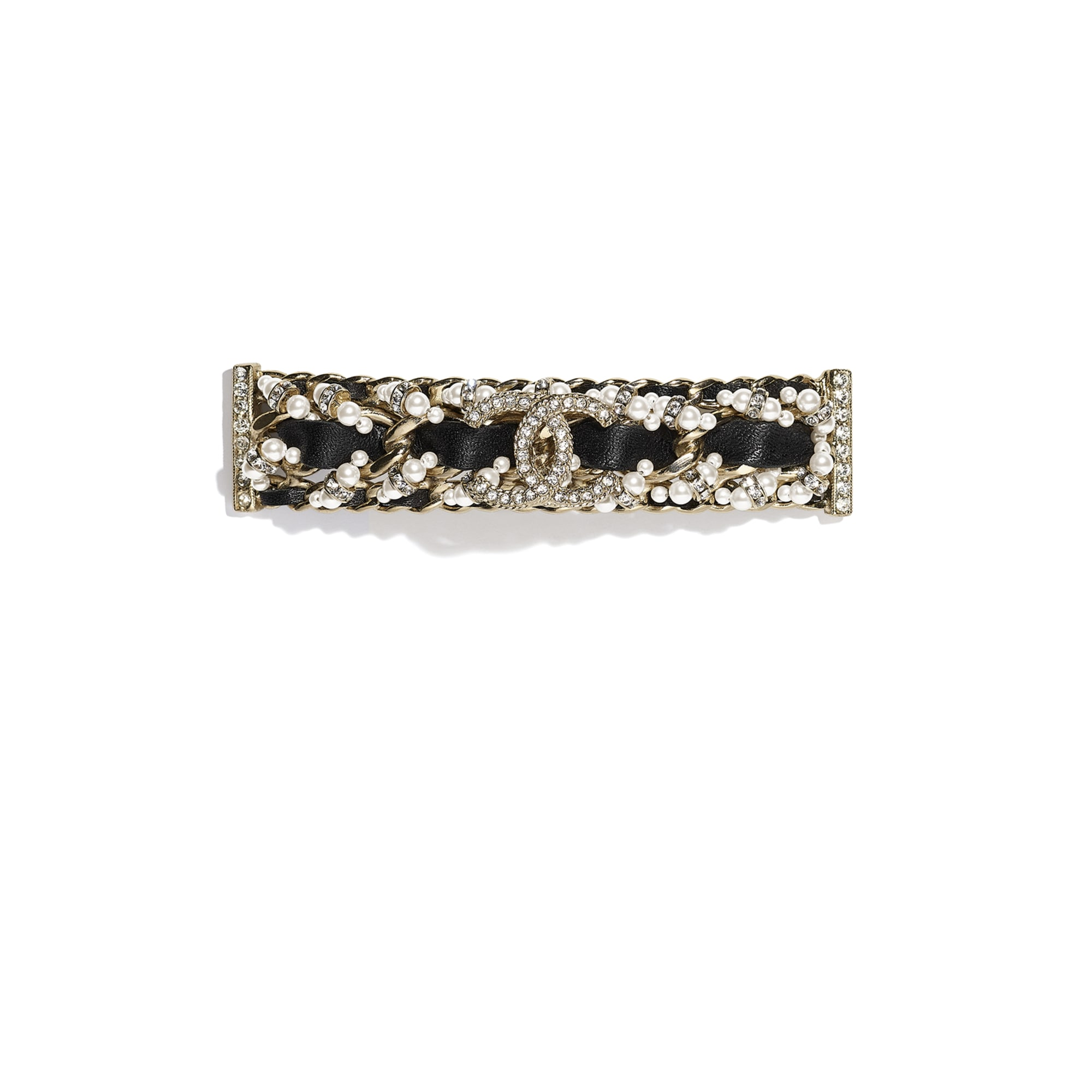 Hair Clip - Gold, Black, Pearly White & Crystal - Metal, Calfskin, Glass Pearls & Strass - CHANEL - Default view - see standard sized version