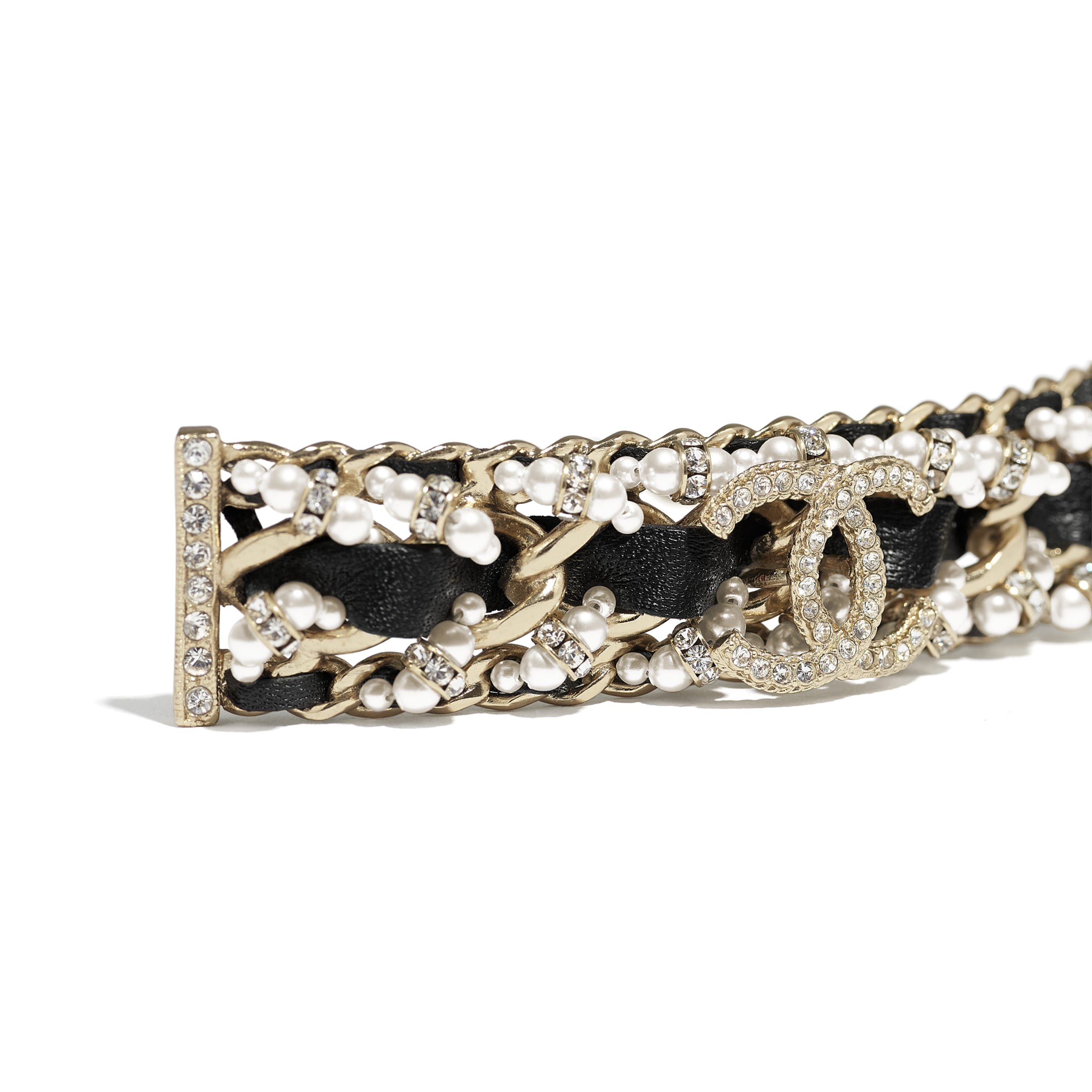 Hair Clip - Gold, Black, Pearly White & Crystal - Metal, Calfskin, Glass Pearls & Strass - CHANEL - Other view - see standard sized version