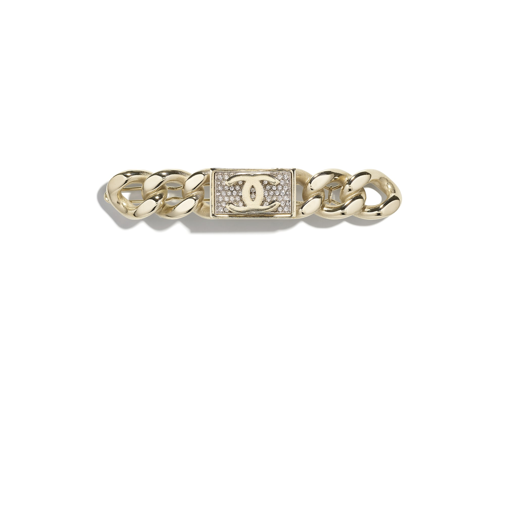 Hair Clip - Gold & Crystal - Metal & Diamantés - CHANEL - Default view - see standard sized version