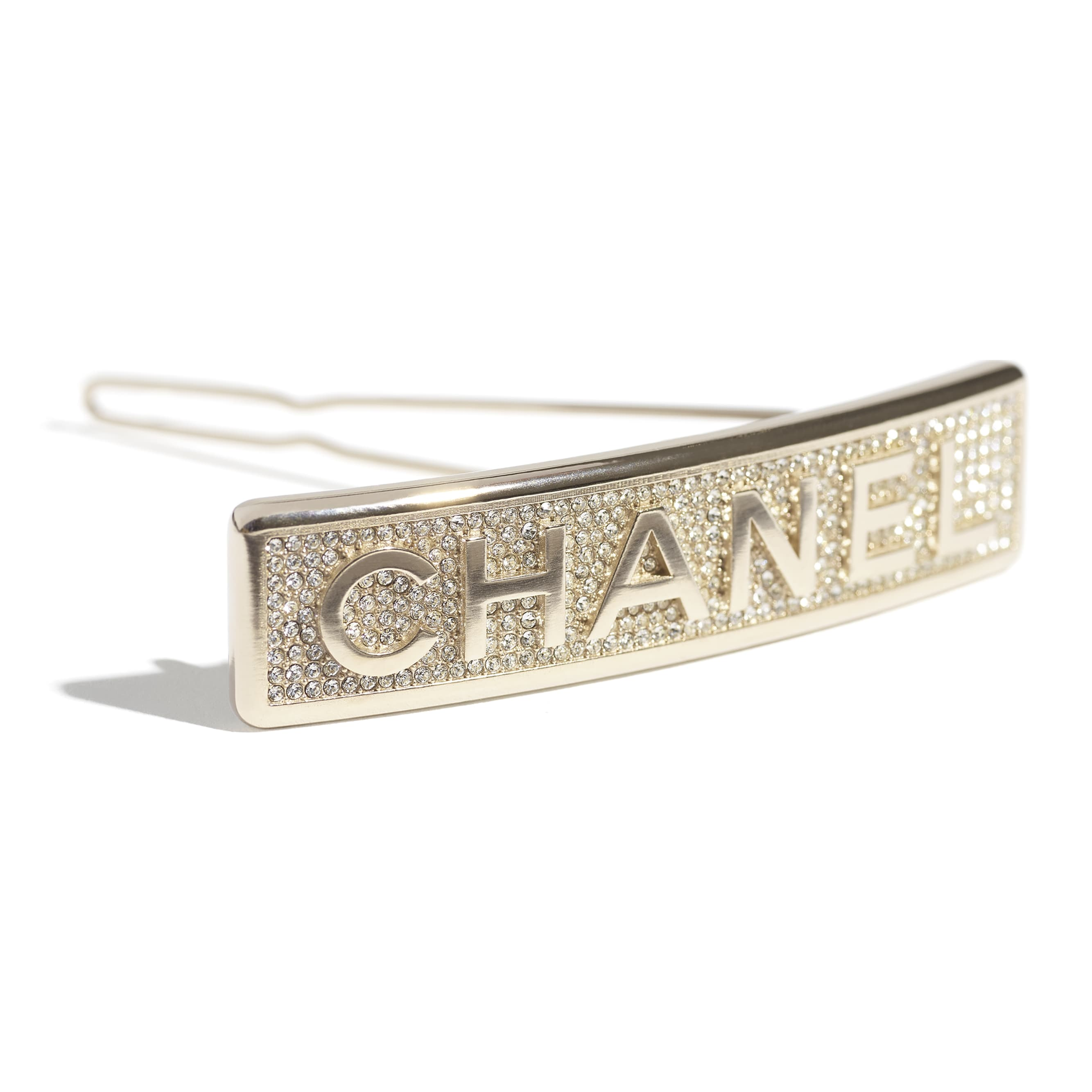 Hair Clip - Gold & Crystal - Metal & Diamantés - CHANEL - Other view - see standard sized version