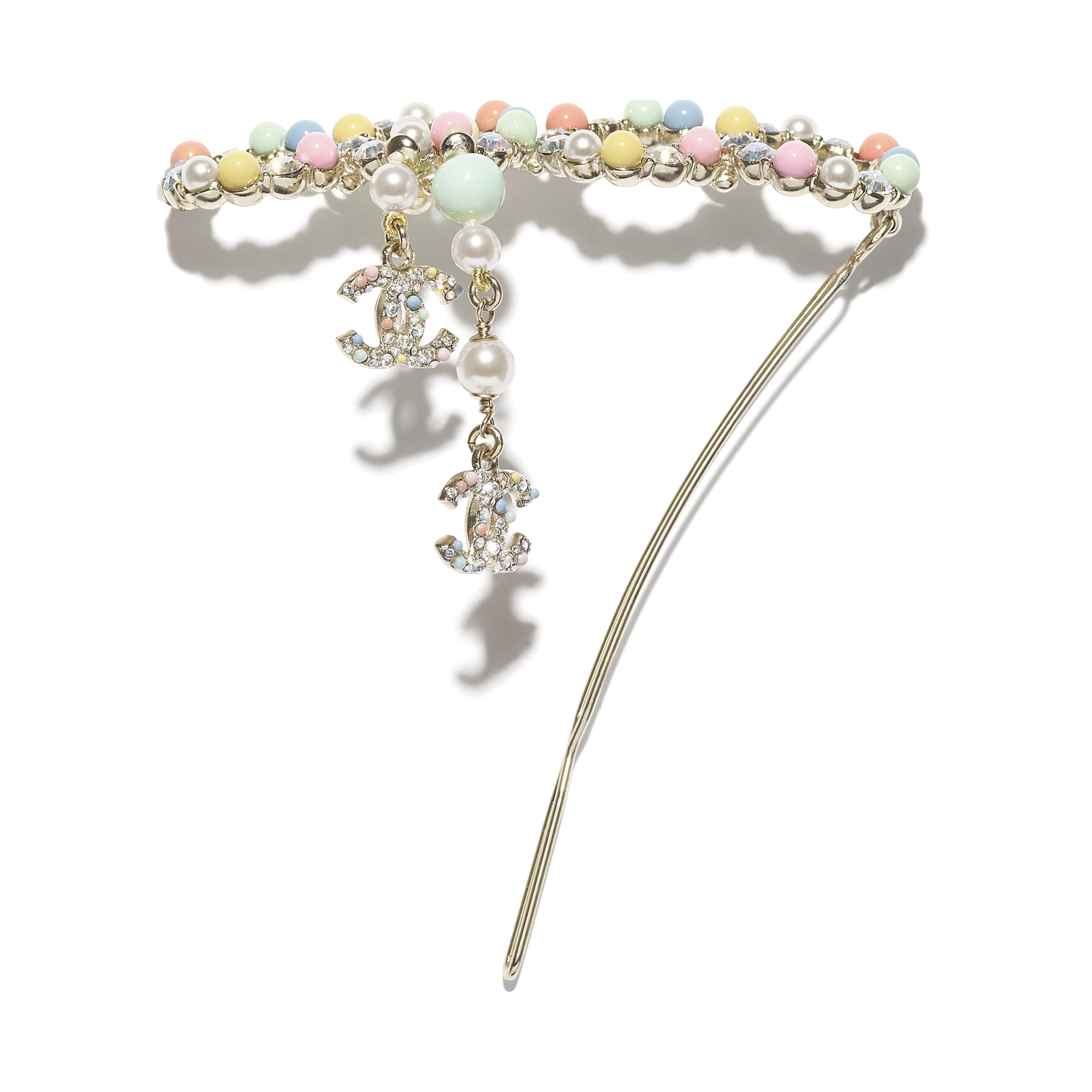 Hair Clip - Gold, Multicolor & Crystal - Metal, Natural Stones, Cultured Freshwater Pearls, Glass Pearls & Strass - CHANEL - Alternative view - see standard sized version