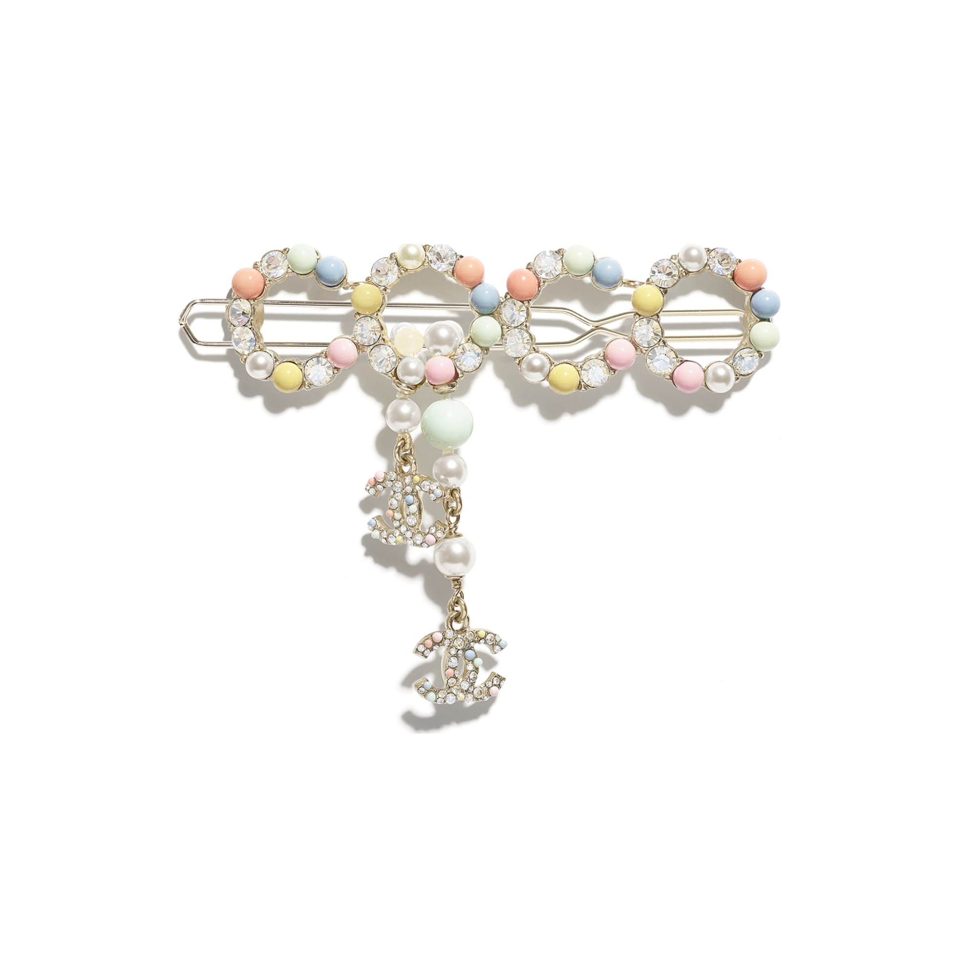 Hair Clip - Gold, Multicolor & Crystal - Metal, Natural Stones, Cultured Freshwater Pearls, Glass Pearls & Strass - CHANEL - Default view - see standard sized version