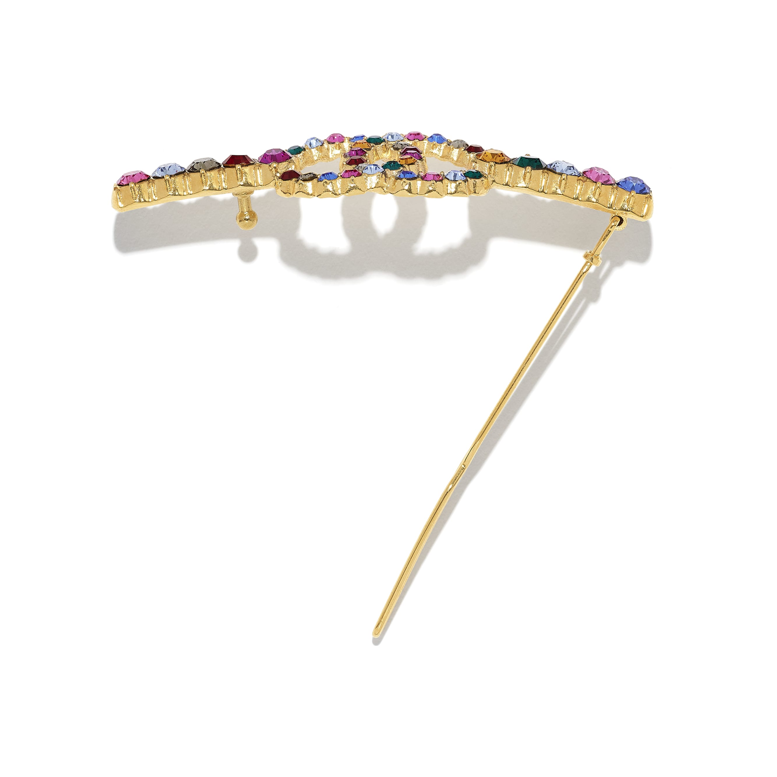 Hair Clip - Gold & Multicolour - Metal & Diamantés - CHANEL - Alternative view - see standard sized version