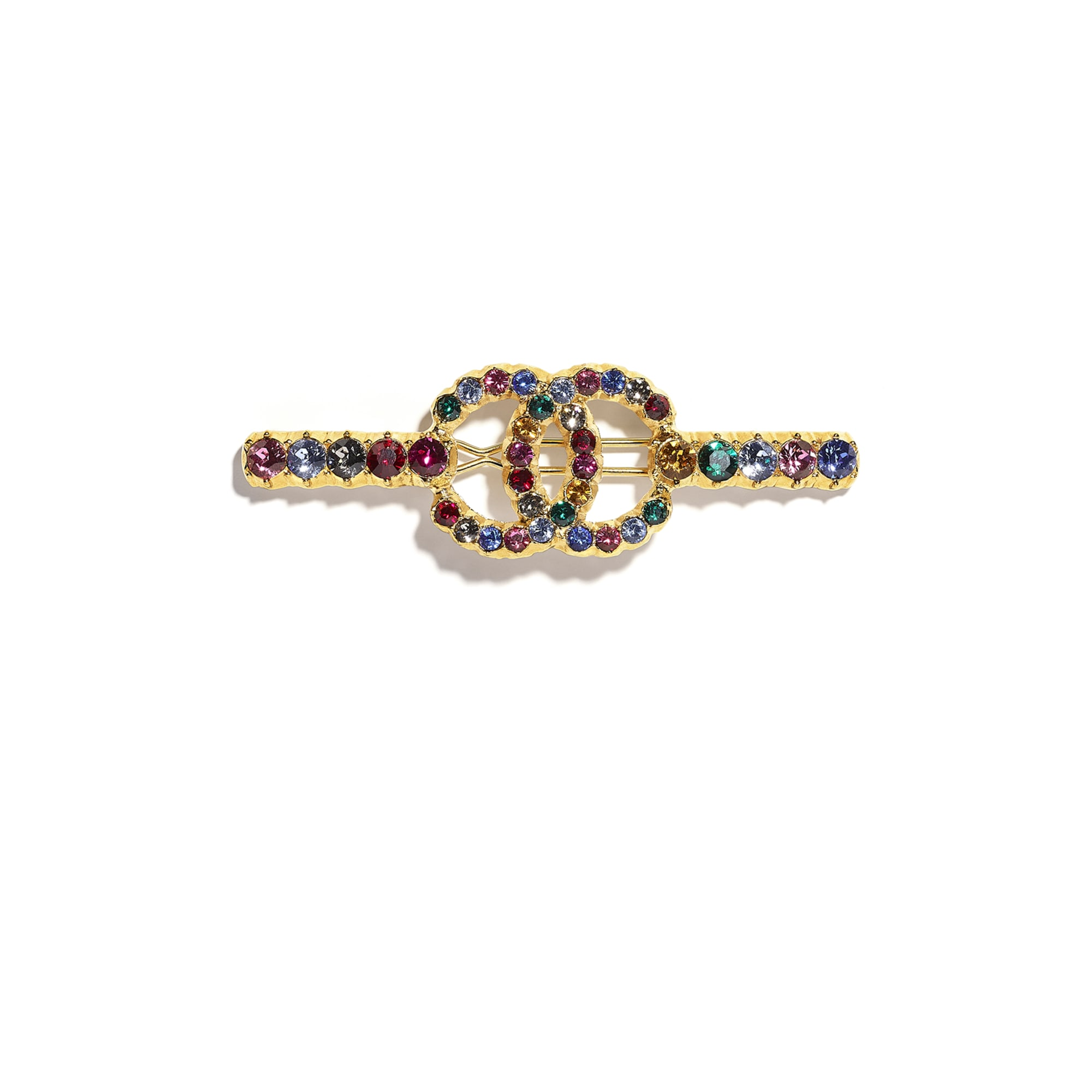 Hair Clip - Gold & Multicolour - Metal & Diamantés - CHANEL - Default view - see standard sized version