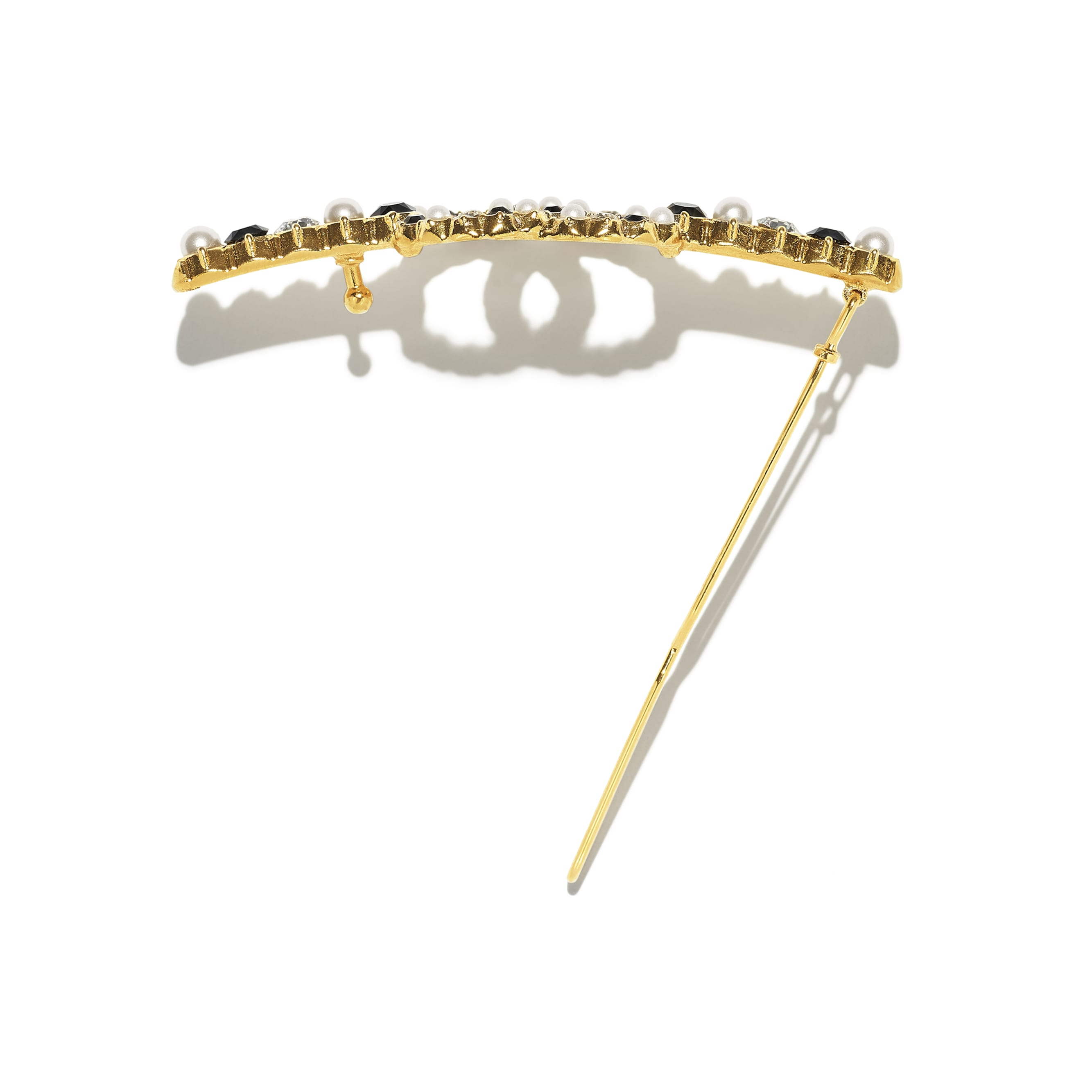 Hair Clip - Gold, Pearly White, Black & Crystal - Metal, Glass Pearls & Diamantés - CHANEL - Alternative view - see standard sized version