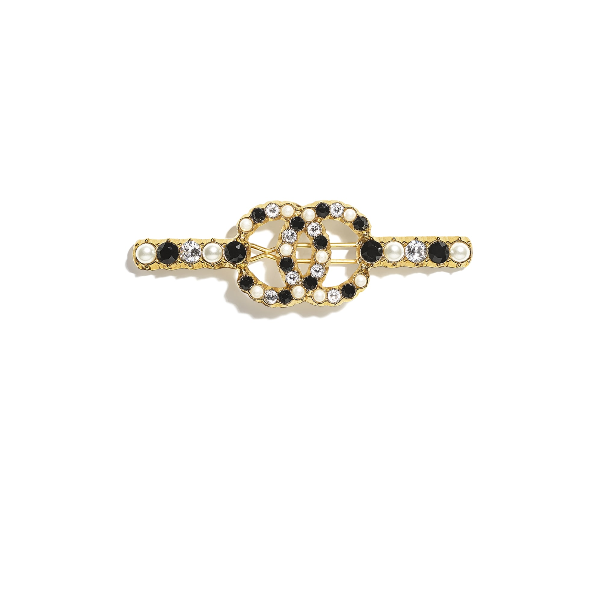 Hair Clip - Gold, Pearly White, Black & Crystal - Metal, Glass Pearls & Diamantés - CHANEL - Default view - see standard sized version