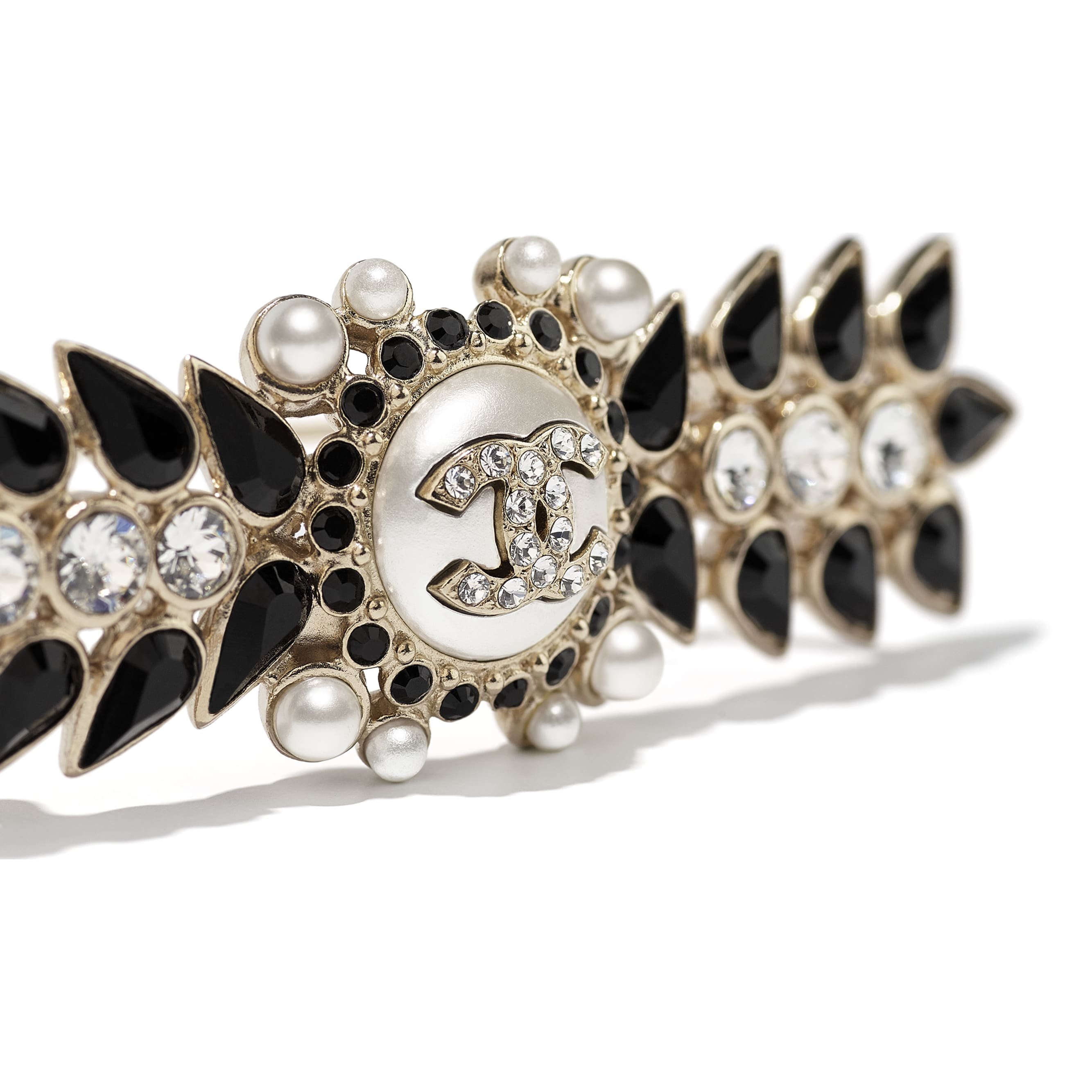 Hair Clip - Gold, Pearly White, Black & Crystal - Metal, Glass Pearls & Diamantés - CHANEL - Other view - see standard sized version