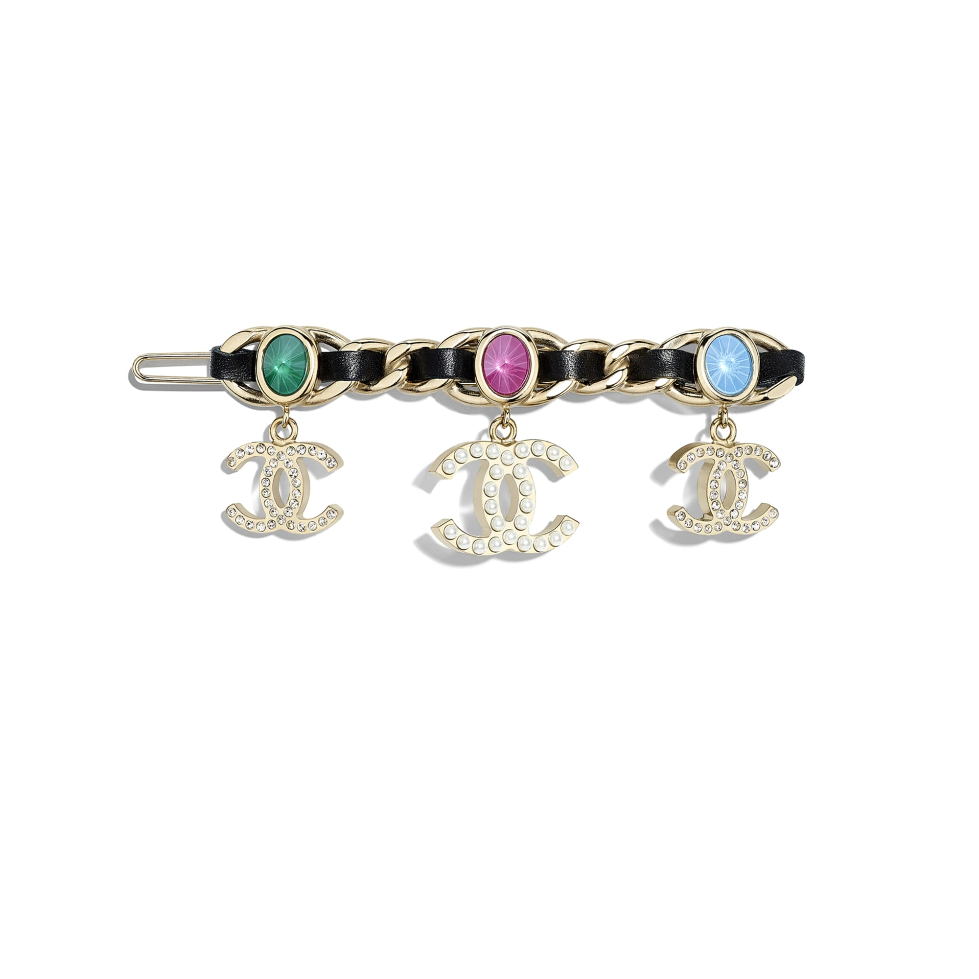 Hair Clip - Gold, Pearly White, Black, Crystal & Multicolour - Metal, Glass Pearls, Lambskin & Strass - Default view - see standard sized version