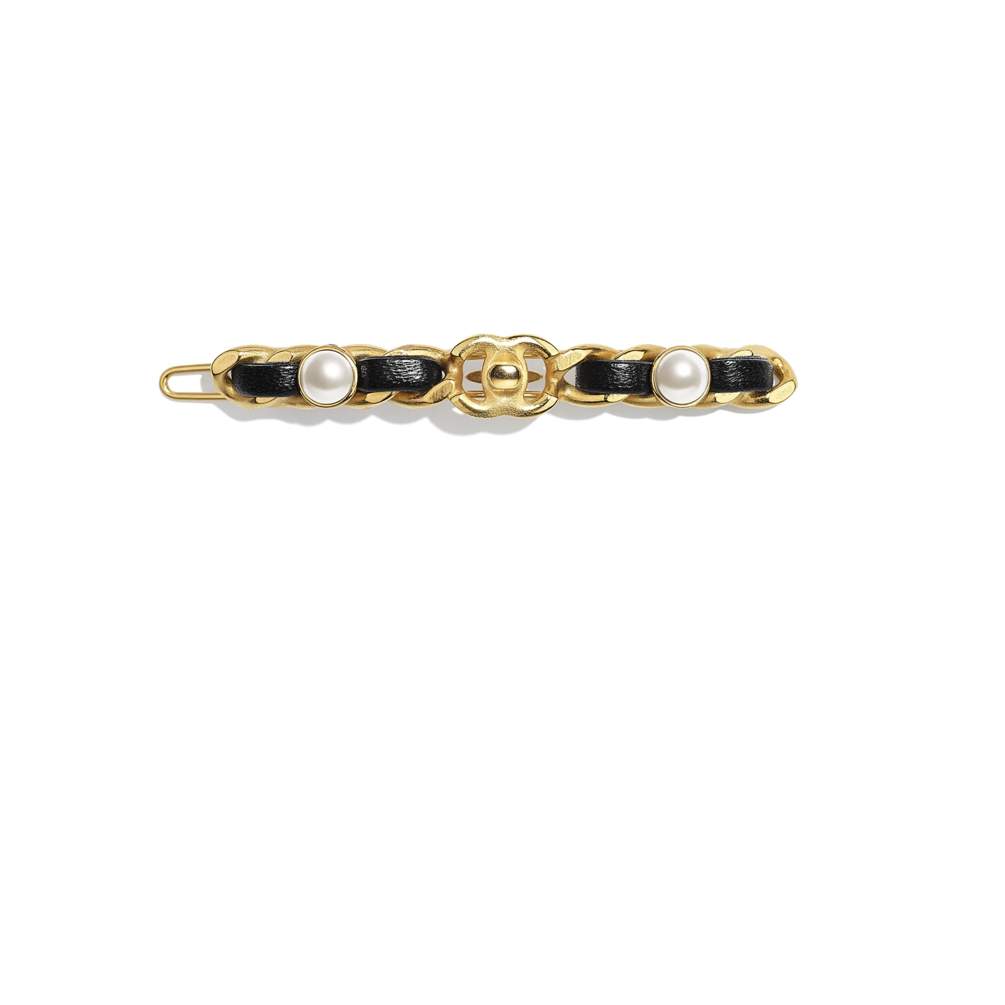 Hair Clip - Gold, Pearly White & Black - Metal, Glass Pearls & Lambskin - CHANEL - Default view - see standard sized version
