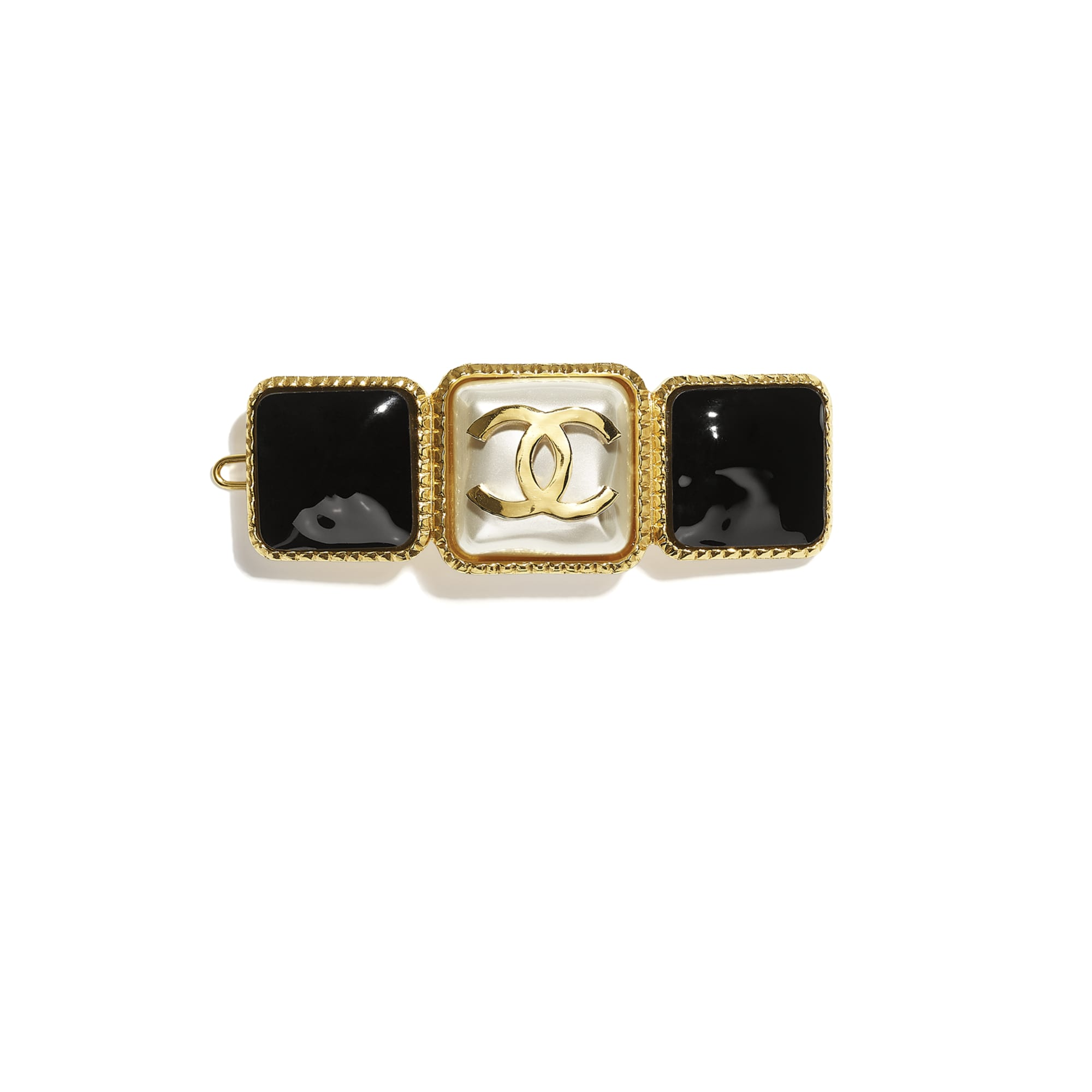 Hair Clip - Gold, Pearly White & Black - Metal & Resin - CHANEL - Default view - see standard sized version