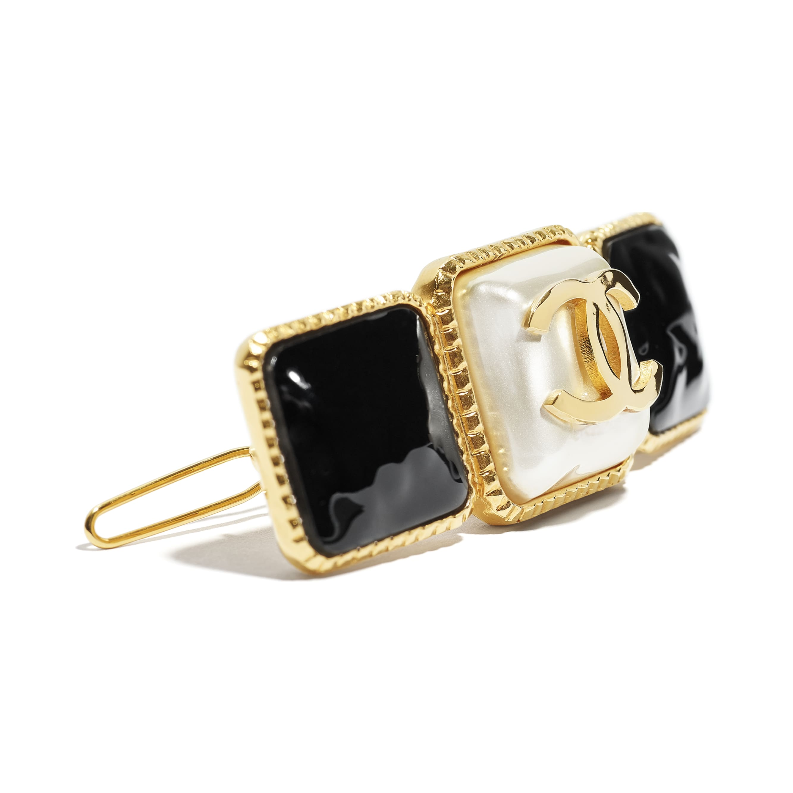 Hair Clip - Gold, Pearly White & Black - Metal & Resin - CHANEL - Other view - see standard sized version