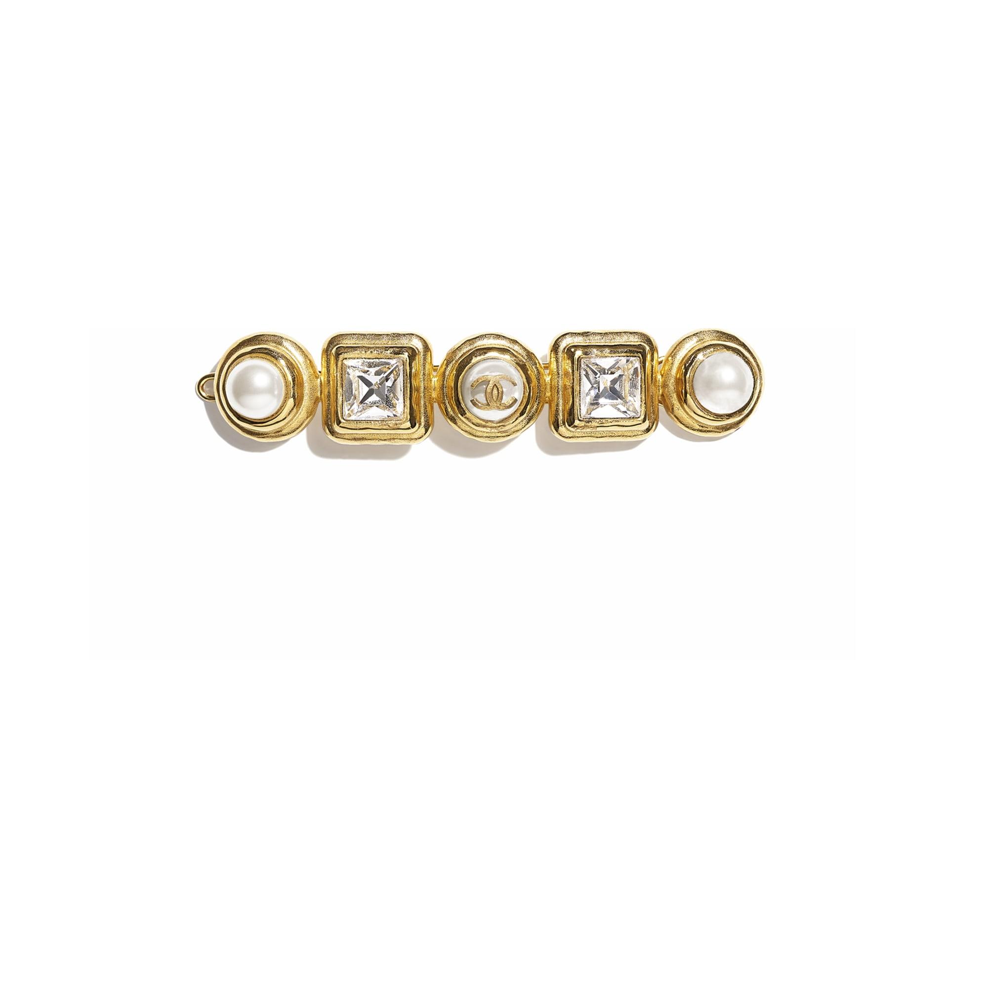 Barrette - Doré, blanc nacré & cristal - Métal, perles de verre & strass - CHANEL - Vue par défaut - voir la version taille standard