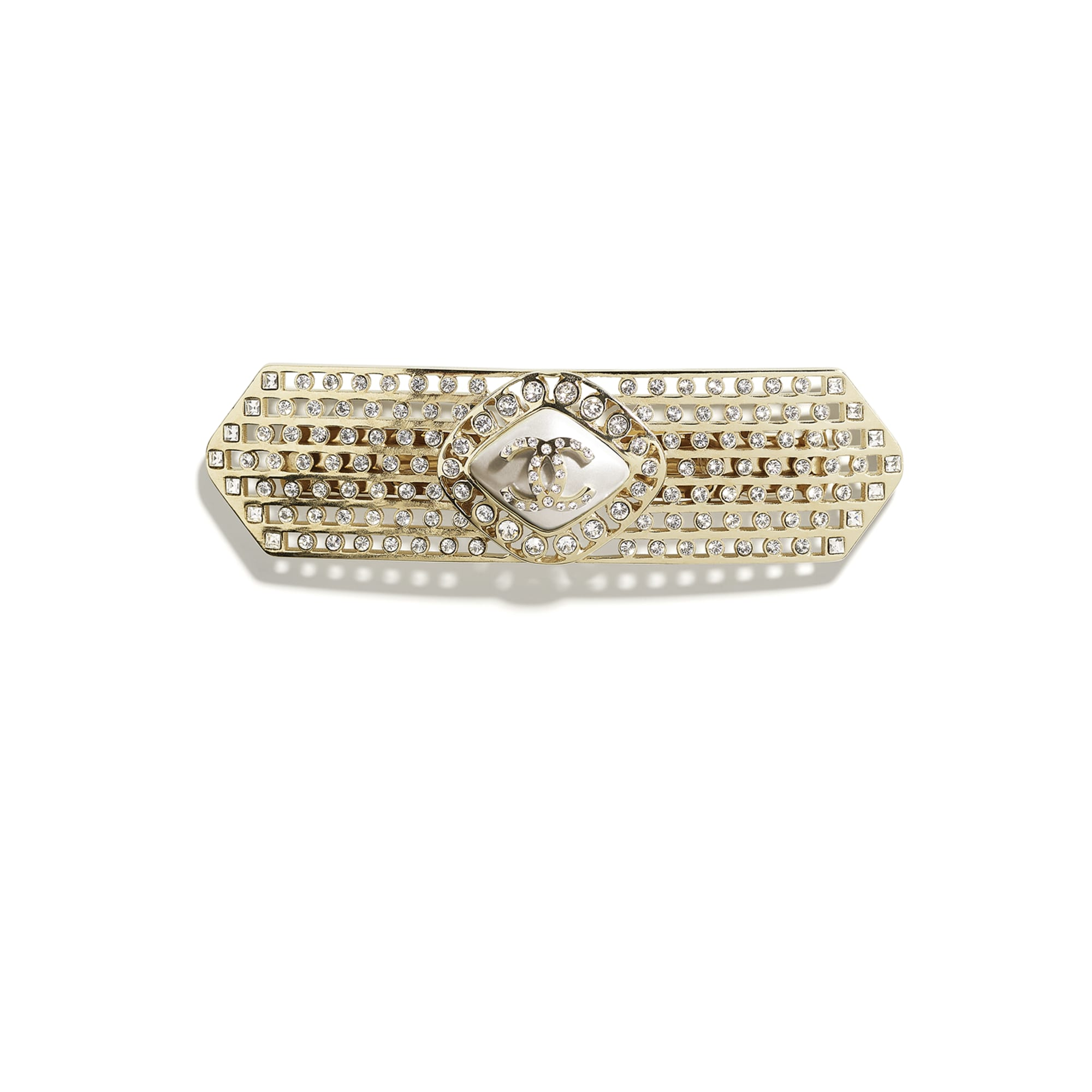 Hair Clip - Gold, Pearly White & Crystal - Metal, Diamantés & Resin - CHANEL - Default view - see standard sized version
