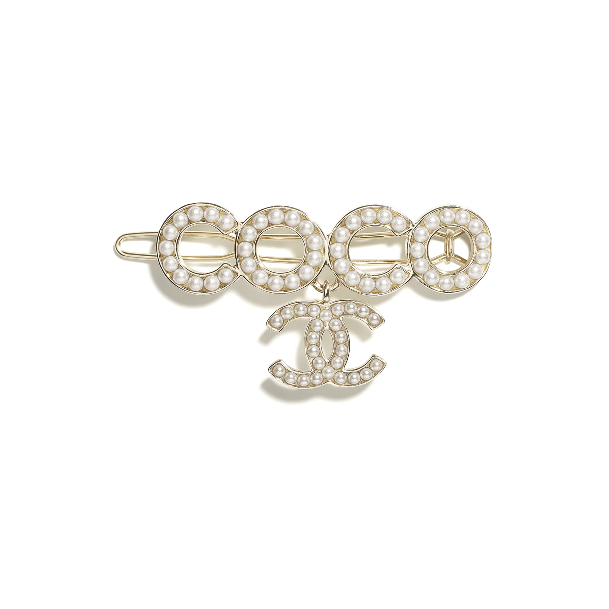 Hair Clip - Gold & Pearly White - Metal & Glass Pearls - CHANEL - Default view - see standard sized version