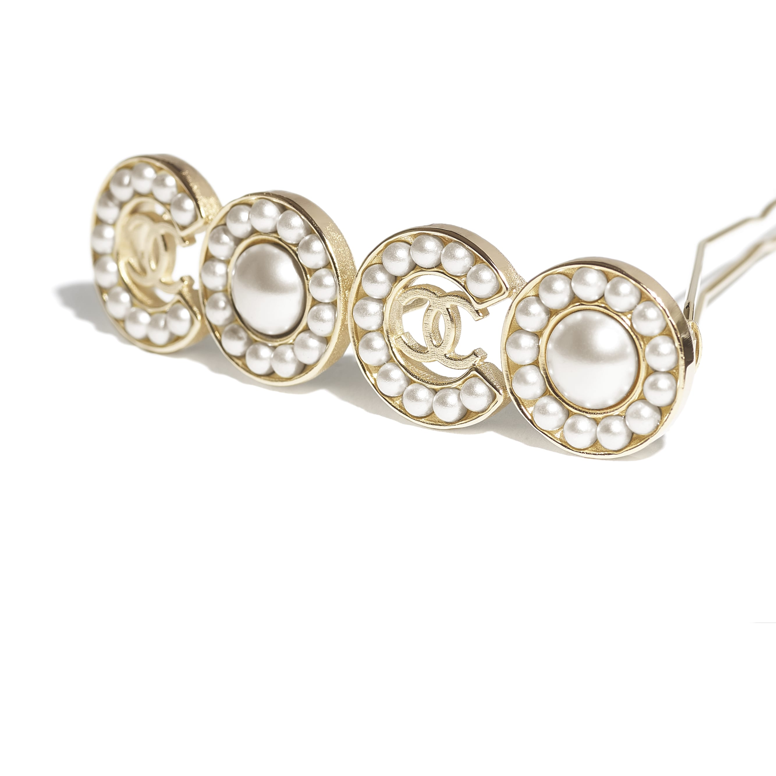 Hair Clip - Gold & Pearly White - Metal & Glass Pearls - CHANEL - Other view - see standard sized version