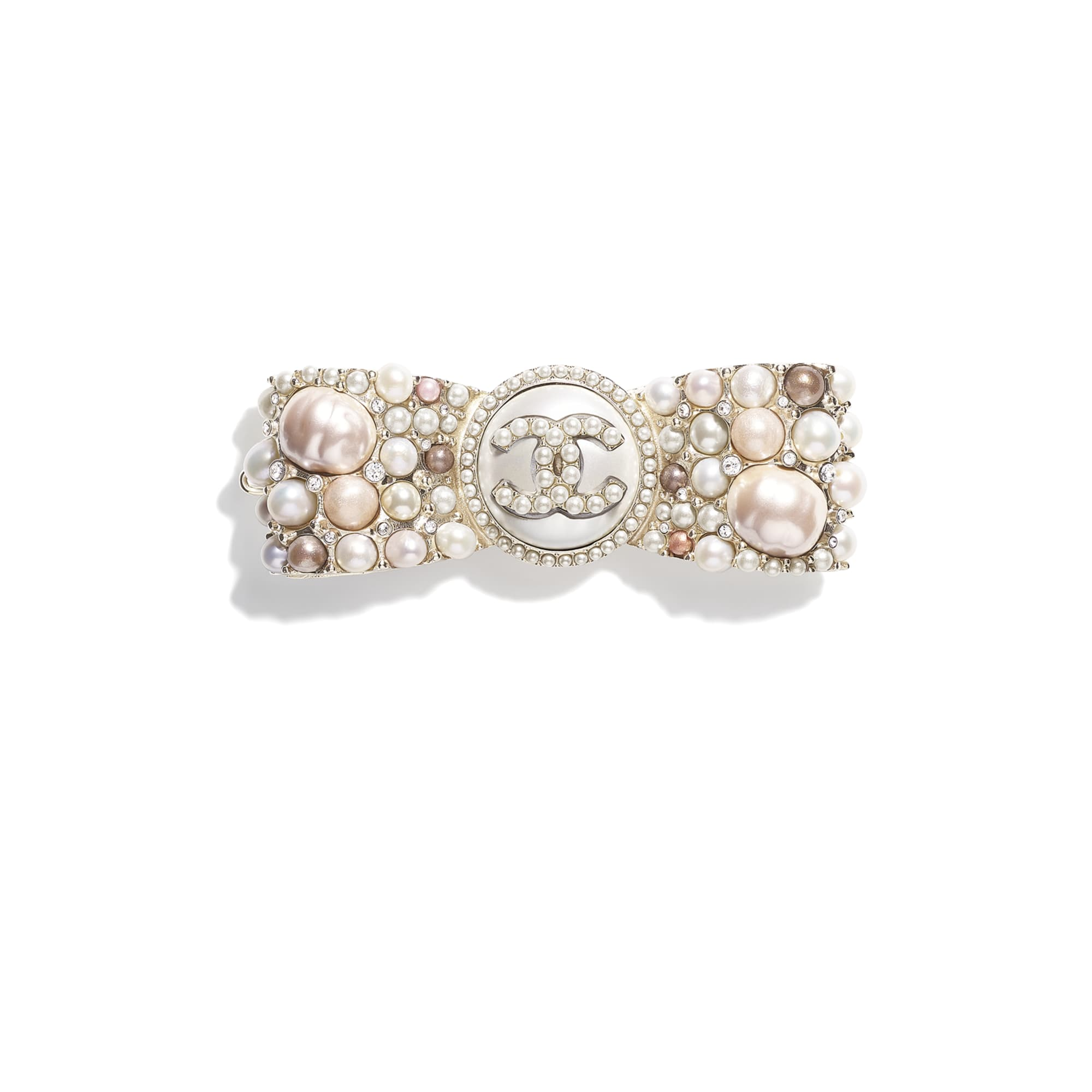 Hair Clip - Gold, Pearly White, Pink & Crystal - Metal, Cultured Fresh Water Pearls, Glass Pearls, Imitation Pearls & Strass - CHANEL - Default view - see standard sized version