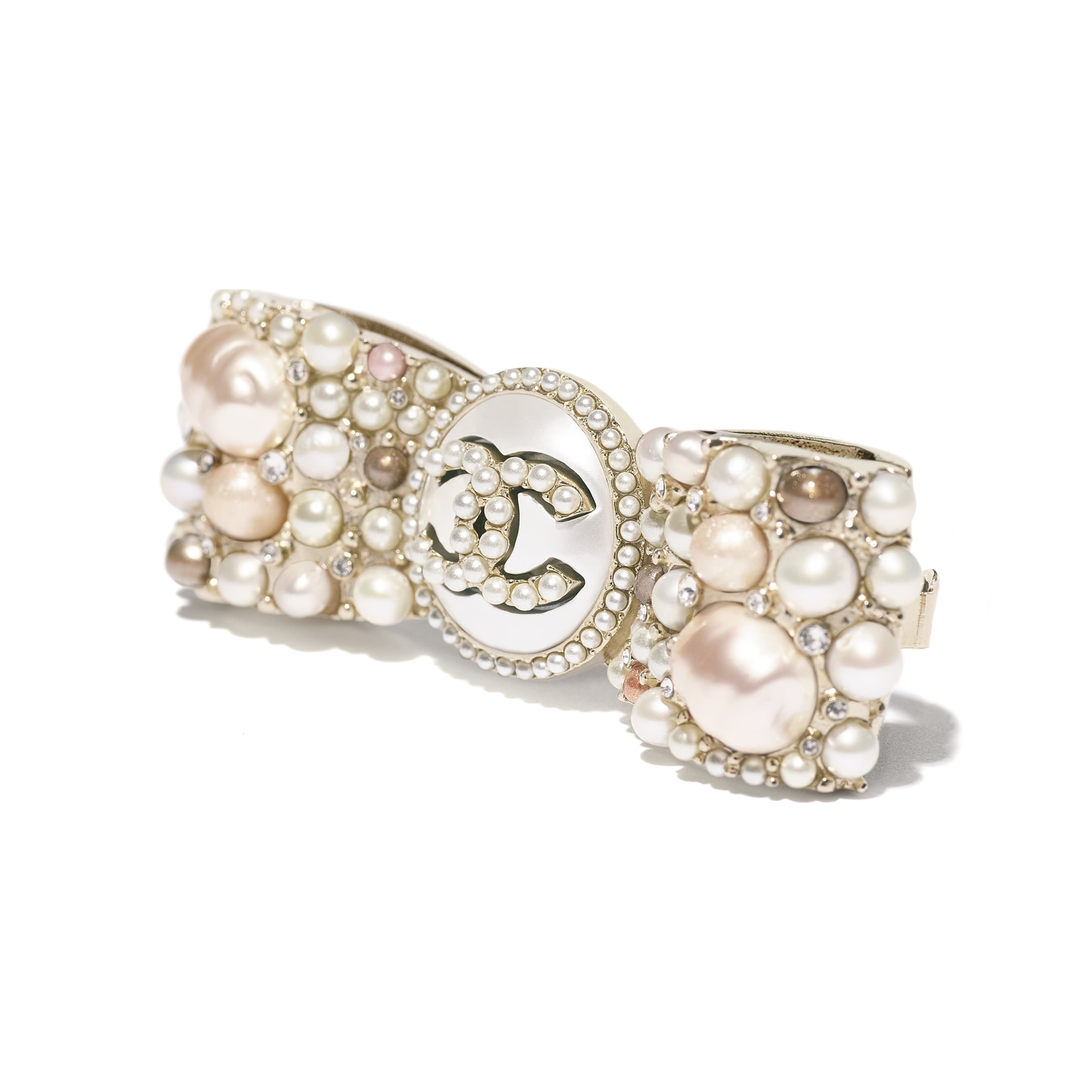 Hair Clip - Gold, Pearly White, Pink & Crystal - Metal, Cultured Fresh Water Pearls, Glass Pearls, Imitation Pearls & Strass - CHANEL - Other view - see standard sized version