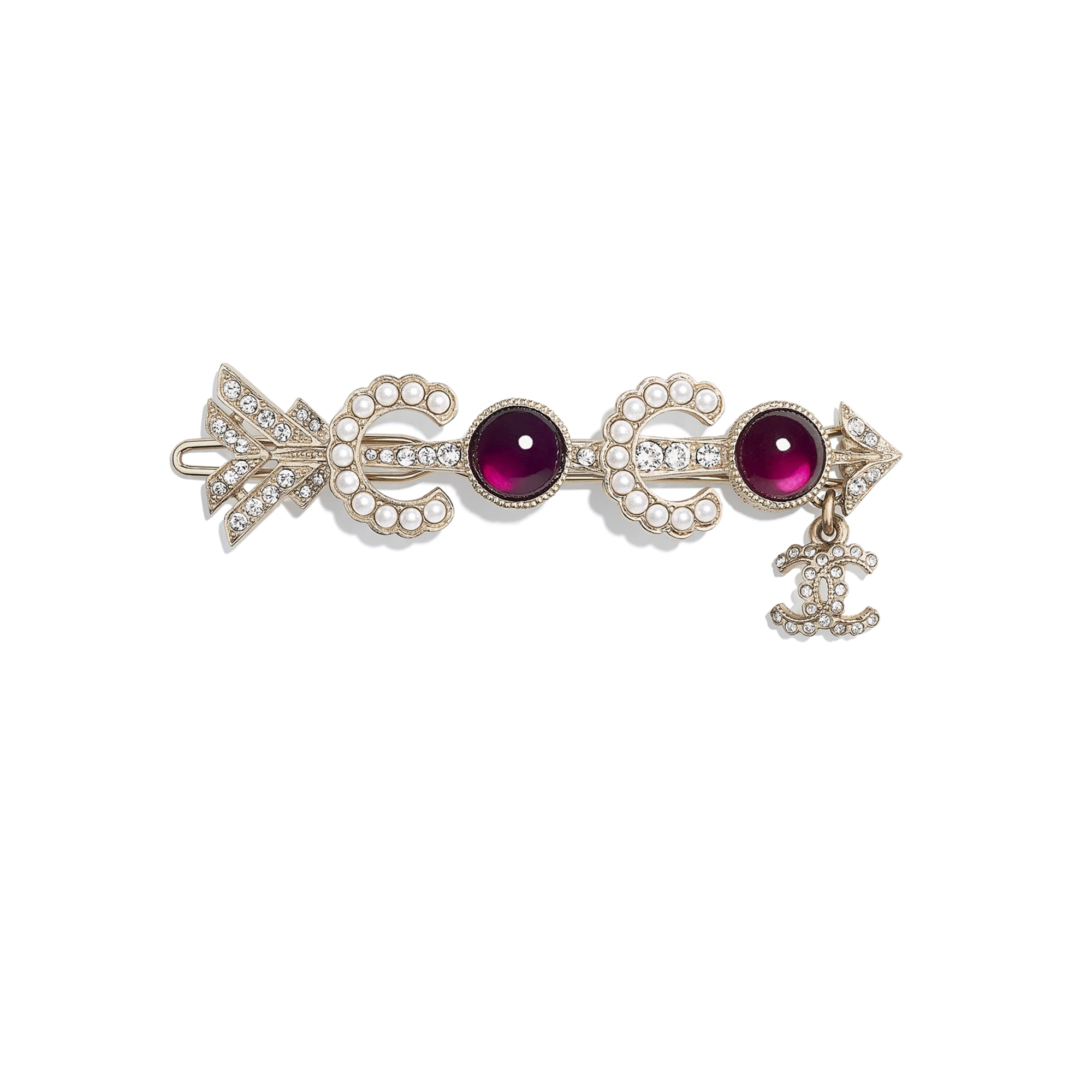Hair Clip - Gold, Pearly White, Red & Crystal - Metal, Glass Pearls & Diamantés - Default view - see standard sized version