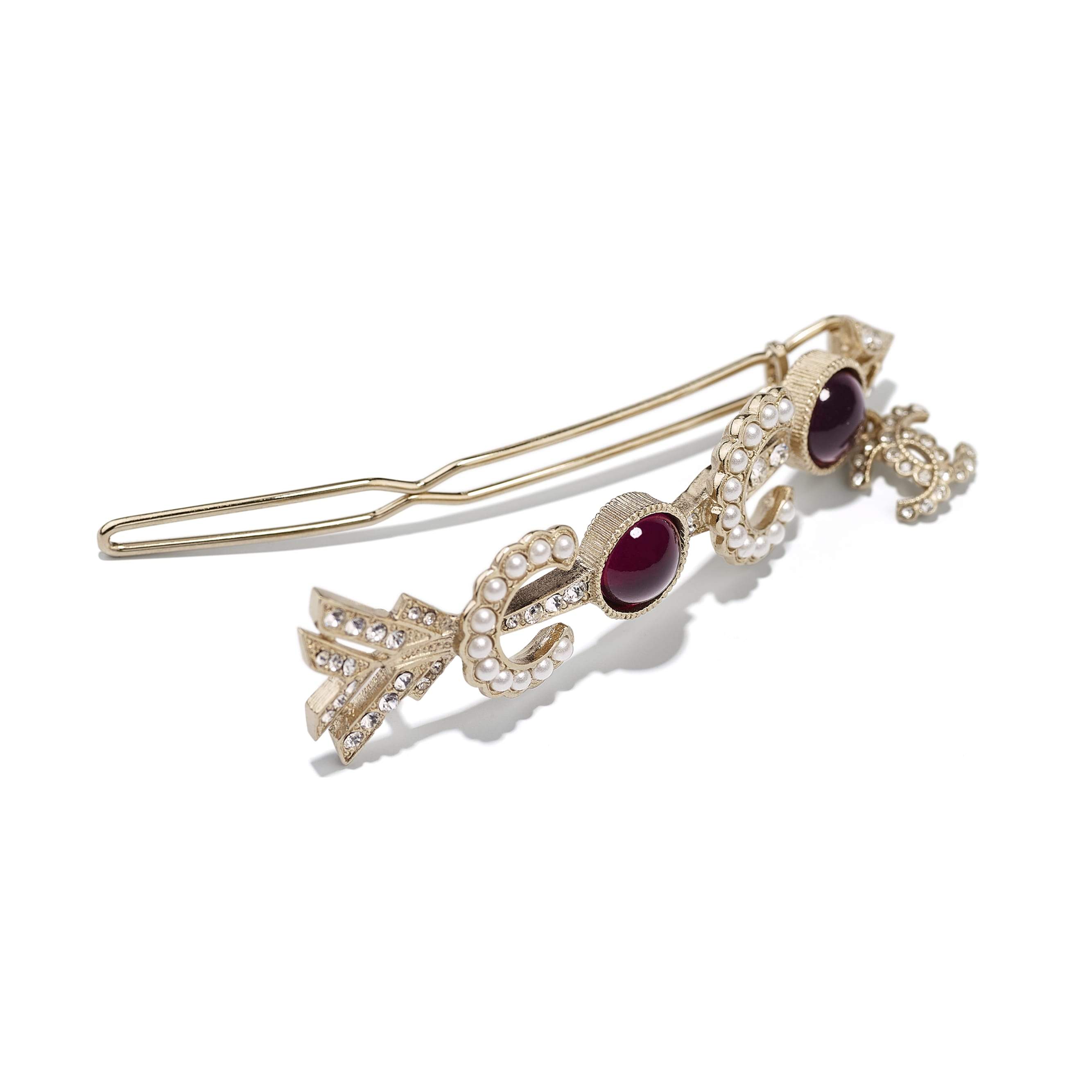 Hair Clip - Gold, Pearly White, Red & Crystal - Metal, Glass Pearls & Diamantés - Other view - see standard sized version