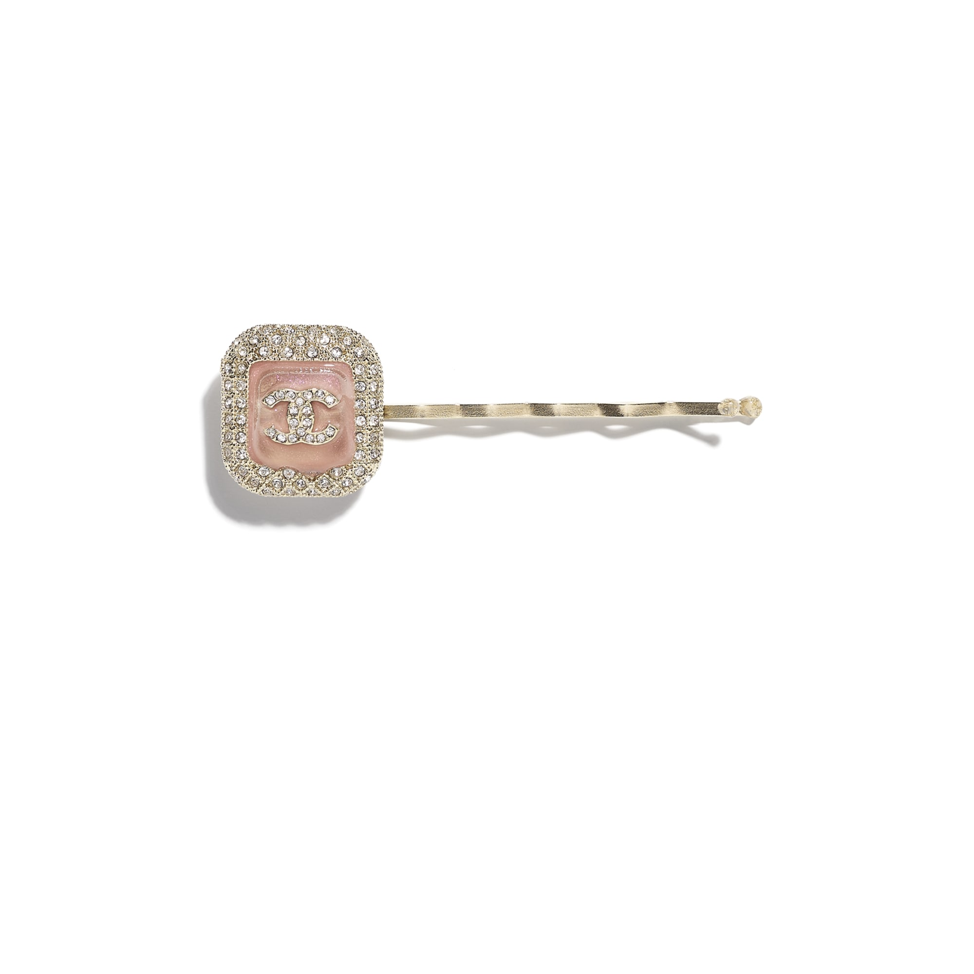 Hair Clip - Gold, Pink & Crystal - Metal, Glass & Diamanté - CHANEL - Default view - see standard sized version