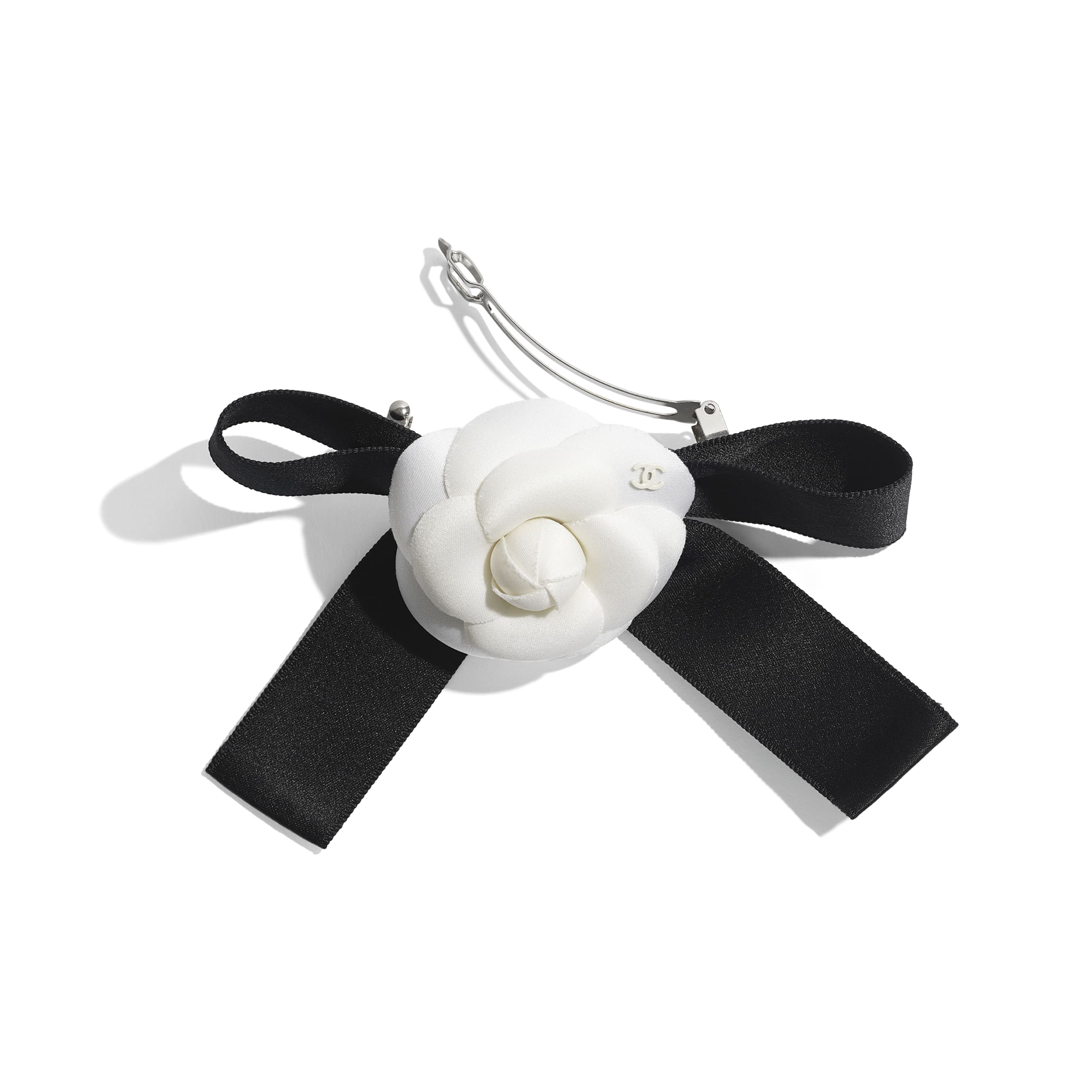 Hair Clip - Ivory & Black - Silk, Cotton & Mixed Fibers  - CHANEL - Alternative view - see standard sized version