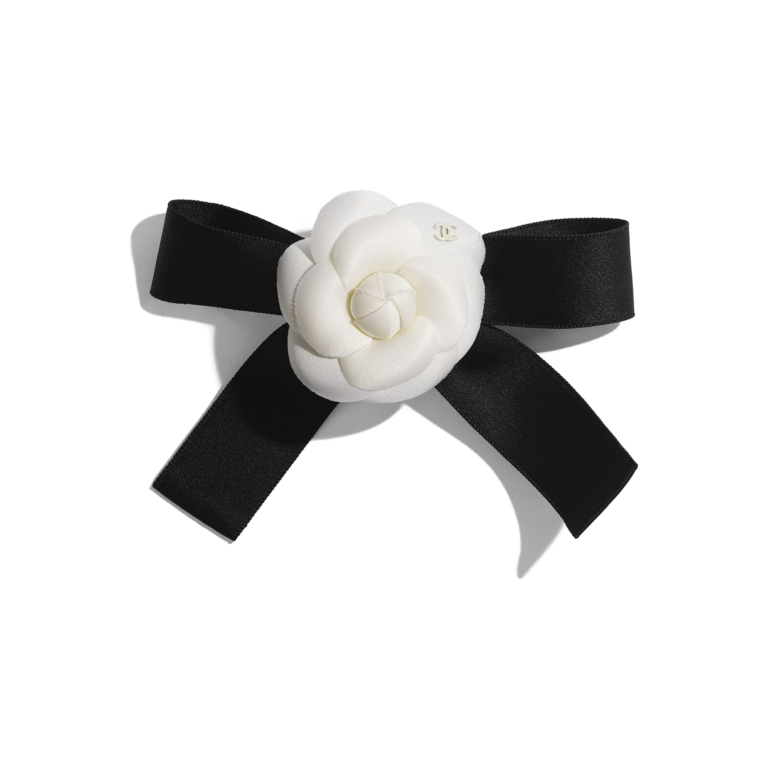Hair Clip - Ivory & Black - Silk, Cotton & Mixed Fibers  - CHANEL - Default view - see standard sized version