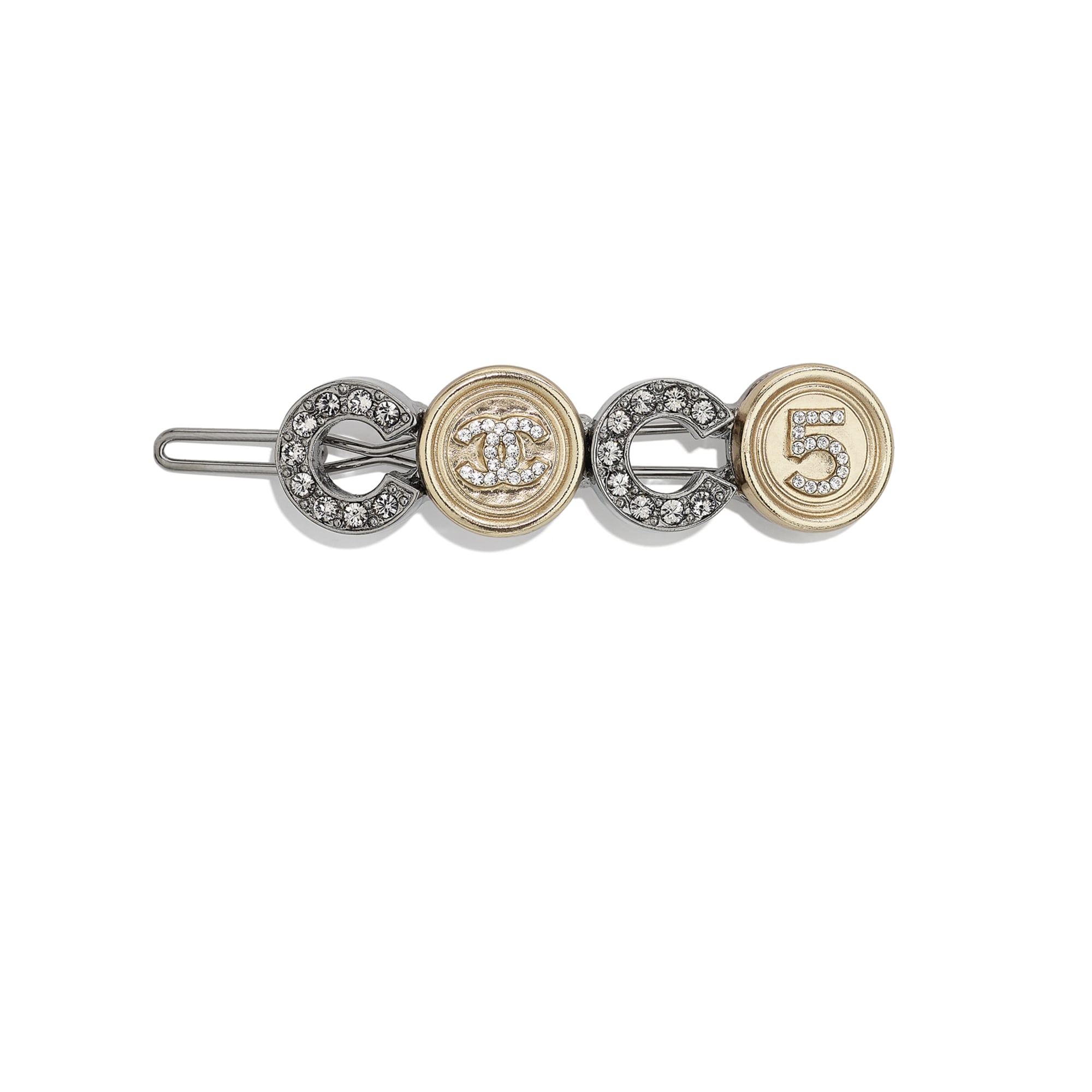Hair Clip - Ruthenium, Gold & Crystal - Metal & Diamantés - CHANEL - Default view - see standard sized version